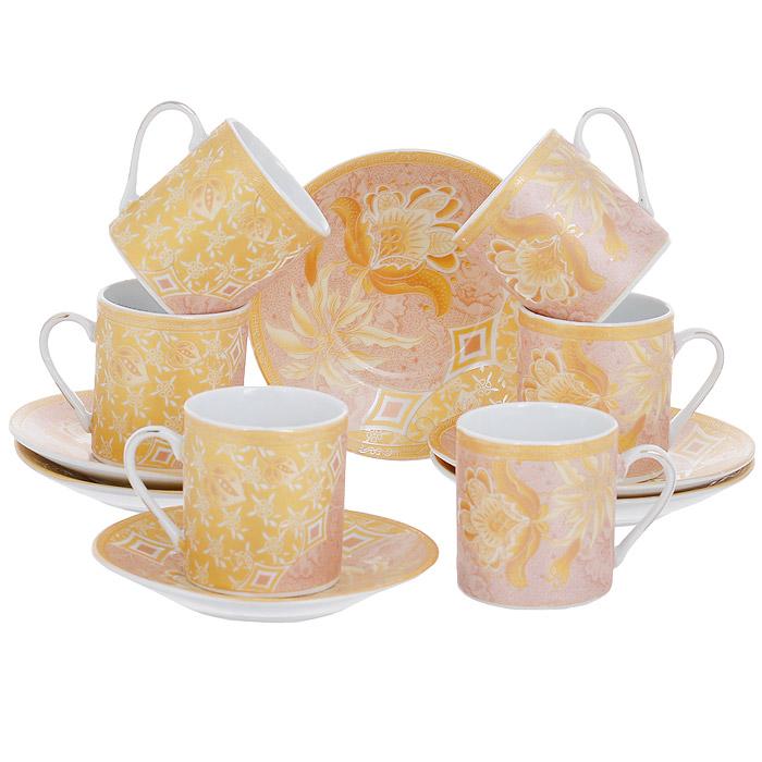 Набор кофейный House & Holder, цвет: золотистый, 12 предметов. DP-D18-FDP-D18-FКофейный набор House & Holder состоит из шести чашек и шести блюдец, выполненных из высококачественного фаянса. Поверхность предметов набора шероховатая. Изделия оформлены изящным цветочным рисунком в золотисто-розовых оттенках. Изящный набор эффектно украсит стол к чаепитию и порадует вас функциональность и ярким дизайном. Объем чашки: 80 мл. Диаметр чашки (по верхнему краю): 5 см. Высота чашки: 5,5 см. Диаметр блюдца: 10,5 см.