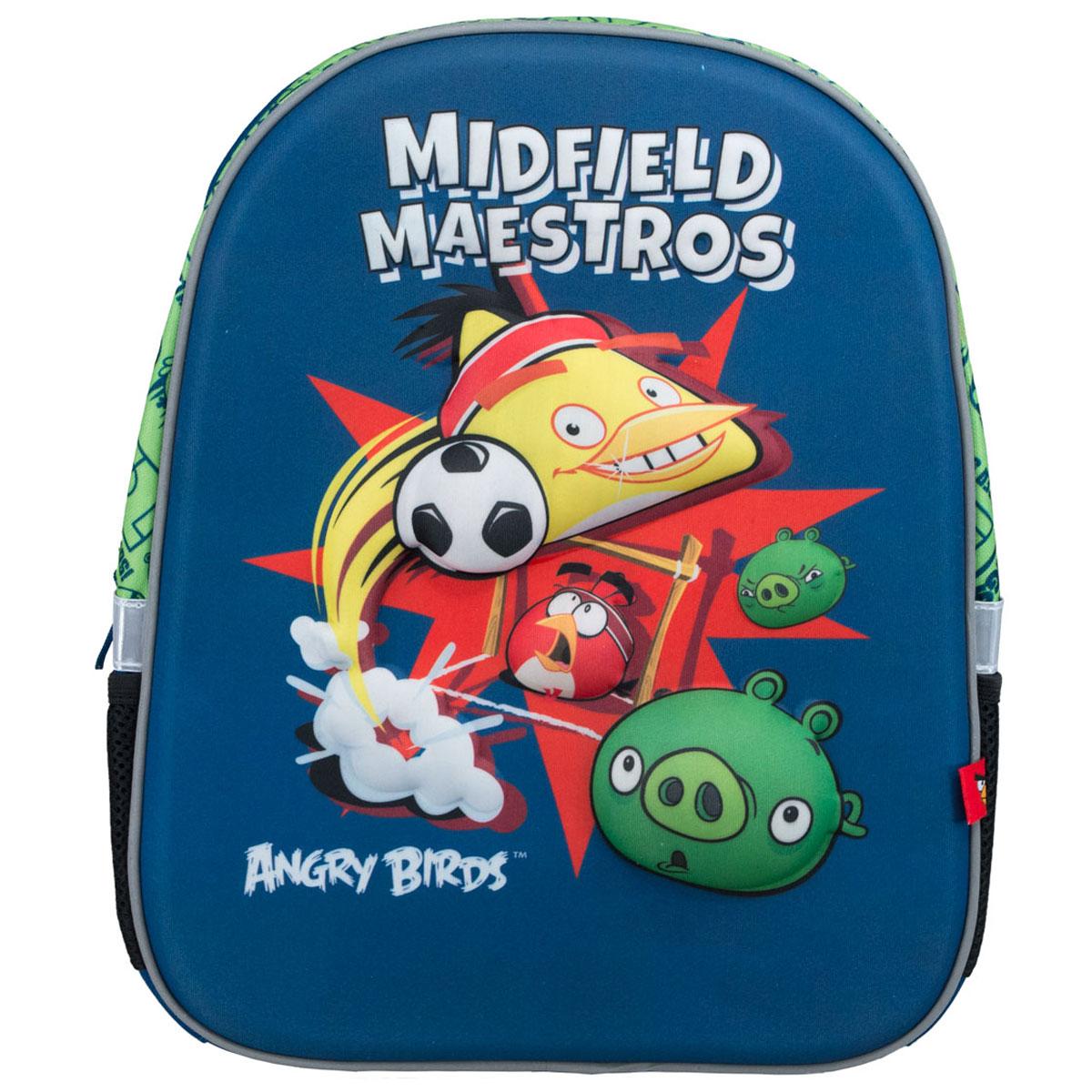 Рюкзак Angry Birds, цвет: синий, салатовый, черныйABCB-UT1-E140Яркий рюкзак Angry Birds обязательно понравится вашему ребенку. Выполнен из прочного материала и оформлен изображениями героев из популярной компьютерной игры Злые птицы (Angry Birds). Содержит рюкзак одно вместительное отделение, закрывающееся на застежку-молнию. Внутри отделения находятся две мягкие перегородки для тетрадей или учебников. Лицевая стенка достаточно твердая, что позволяет не деформироваться рюкзаку. Рюкзак имеет два боковых кармана-сетка, стянутых сверху резинкой. Оснащен плечевыми ремнями и мягкой текстильной ручкой для переноски в руке. Широкие мягкие лямки регулируются по длине и равномерно распределяют нагрузку на плечевой пояс.