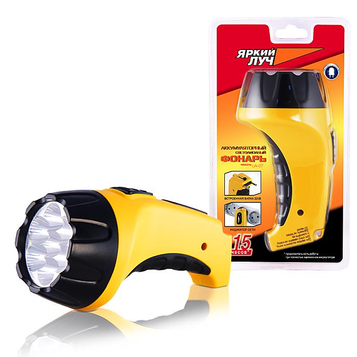 Фонарь ручной Яркий Луч LA-07LA-07Описание: Светодиодный аккумуляторный фонарь Количество ламп: 7 светодиодов, 30 лм. Питание: аккумулятор кислотно-свинцовый 4В, 0,8 Ач.(в комплекте) Материал корпуса: ABS пластик Размеры: 152 x 80 мм (длина х диаметр) Дополнительно: 15 часов время непрерывной работы, индикация заряда, выдвижная вилка для заряда от 220В. Влагозащитная конструкция.