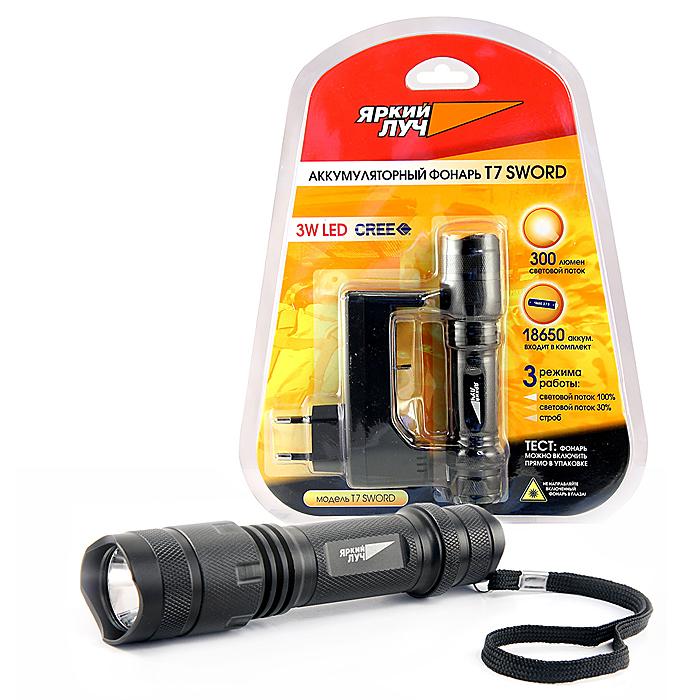 Фонарь ручной Яркий Луч T7T7Фонарь T7 снабжен мощным светодиодом XP-G R5 300 люмен. Компактен, при длине 13.5 см легко помещается в кармане, чтобы стать незаменимым помощником в темное время суток. Обратите внимание, в комплектацию данного фонаря входит литиевый аккумулятор 18650, а также зарядное устройство, чтобы Вы сразу могли использовать фонарь. Ремешок на запястье предохранит фонарь от падения. Перед первым использованием фонаря необходимо полностью зарядить аккумулятор, при этом на зарядном устройстве цвет светодиода изменится с красного на зеленый. Основные характеристики фонаря: источник света: 3 Вт светодиод XP-G R5, 300 люмен; аккумуляторная батарея 18650 3.7 В 2000 мАч(в комплекте) материал корпуса: алюмин. сплав. Три режима работы: световой поток 100%; световой поток 30%; строб.
