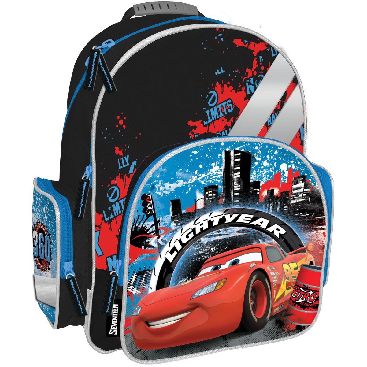 Рюкзак школьный Cars, цвет: черный, голубой, красный. CRCB-MT1-9621CRCB-MT1-9621Рюкзак Cars обязательно понравится вашему школьнику. Выполнен из прочных и высококачественных материалов, дополнен изображением героя из известного мультфильма Тачки. Содержит два вместительных отделения, закрывающиеся на застежки-молнии. В большом отделении находятся две перегородки для тетрадей или учебников. Лицевая сторона оснащена накладным карманом на молнии. По бокам расположены два накладных кармана: на застежке-молнии и открытый, стянутый сверху резинкой. Специально разработанная архитектура спинки со стабилизирующими набивными элементами повторяет естественный изгиб позвоночника. Набивные элементы обеспечивают вентиляцию спины ребенка. Плечевые лямки анатомической формы равномерно распределяют нагрузку на плечевую и воротниковую зоны. Конструкция пряжки лямок позволяет отрегулировать рюкзак по фигуре. Рюкзак оснащен эргономичной ручкой для удобной переноски в руке. Светоотражающие элементы обеспечивают безопасность в темное время суток. ...