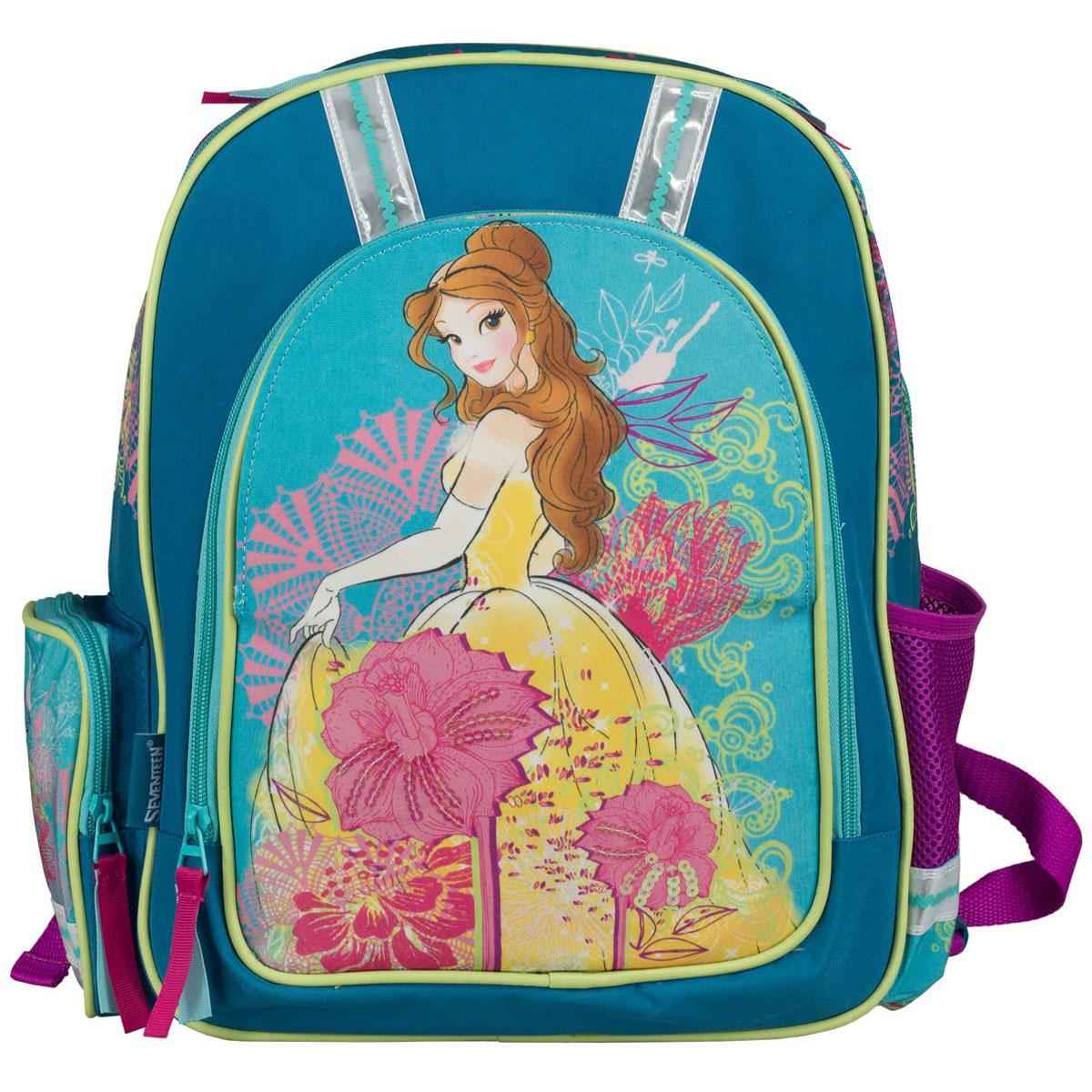 Рюкзак школьный Disney Princess, цвет: сиреневый, бирюзовый. PRCB-RT2-836MPRCB-RT2-836MРюкзак школьный Disney Princess обязательно понравится вашей школьнице. Выполнен из прочных и высококачественных материалов, дополнен изображением прекрасной принцессы. Содержит одно вместительное отделение, закрывающееся на застежку-молнию. Внутри отделения находятся две перегородки для тетрадей или учебников, а также открытый карман-сетка. Лицевая сторона оснащена накладным карманом на молнии. Перекидная магнитная панель на лицевой стороне позволяет менять дизайн рюкзака. По бокам расположены два накладных кармана: на застежке-молнии и открытый, стянутый сверху резинкой. Специально разработанная архитектура спинки со стабилизирующими набивными элементами повторяет естественный изгиб позвоночника. Набивные элементы обеспечивают вентиляцию спины ребенка. Плечевые лямки анатомической формы равномерно распределяют нагрузку на плечевую и воротниковую зоны. Конструкция пряжки лямок позволяет отрегулировать рюкзак по фигуре. Рюкзак оснащен эргономичной ручкой для...