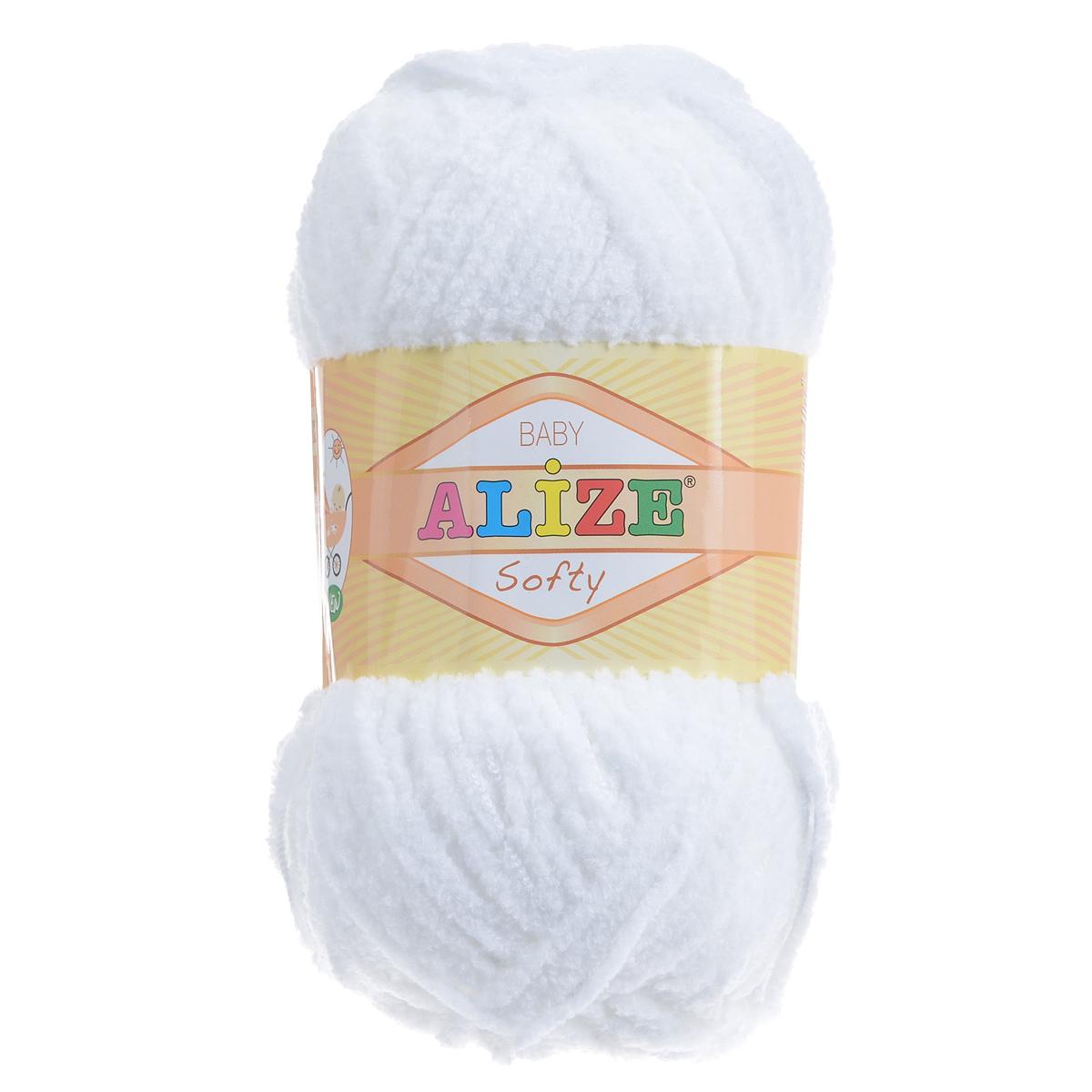 Пряжа для вязания Alize Softy, цвет: белый (55), 115 м, 50 г, 5 шт694530_55Пряжа для вязания Alize Softy изготовлена из микрополиэстера. Фантазийная плюшевая пряжа для ручного вязания прекрасно подойдет для детской одежды. Ниточка мягкая и приятная на ощупь. Подходит для вязания спицами и крючком. Рекомендованные спицы 3-5 мм и крючок для вязания 2-4 мм. Комплектация: 5 мотков.