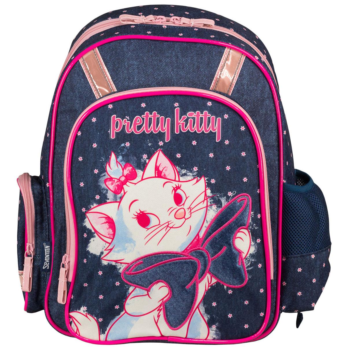 Рюкзак школьный Marie Cat, цвет: темно-синий, розовый. MCCB-UT1-836MCCB-UT1-836Стильный школьный рюкзак Marie Cat обязательно понравится вашей школьнице. Выполнен из прочных и высококачественных материалов, дополнен изображением милой кошечки с бантиком. Содержит одно вместительное отделение, закрывающееся на застежку-молнию с двумя бегунками. Внутри отделения находятся две перегородки для тетрадей или учебников, а также открытый карман-сетка. Дно рюкзака можно сделать жестким, разложив специальную панель с пластиковой вставкой, что повышает сохранность содержимого рюкзака и способствует правильному распределению нагрузки. Лицевая сторона оснащена накладным карманом на молнии. По бокам расположены два накладных кармана: на застежке-молнии и открытый, стянутый сверху резинкой. Специально разработанная архитектура спинки со стабилизирующими набивными элементами повторяет естественный изгиб позвоночника. Набивные элементы обеспечивают вентиляцию спины ребенка. Плечевые лямки анатомической формы равномерно распределяют нагрузку на плечевую и...