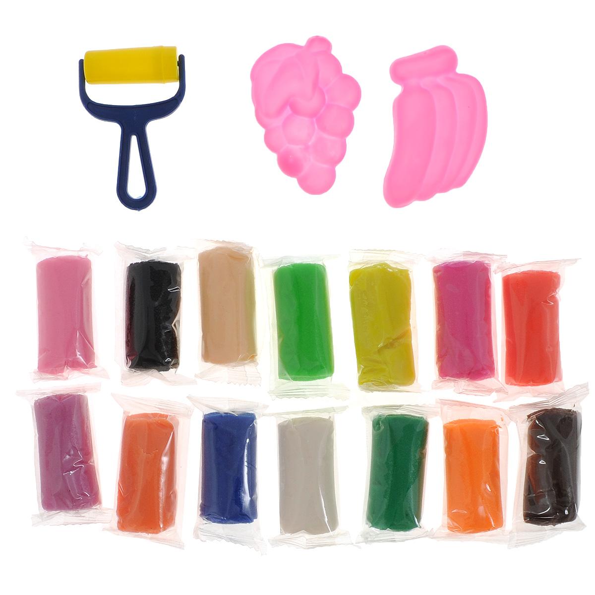 Набор для лепки Centrum Фикси-тесто, цвет сундучка: розовый, 17 предметов84906_розовая крышкаНабор для лепки Centrum Фикси-тесто приведет в восторг вашего малыша. Тесто обладает удивительной пластичностью, не пачкается и не липнет к рукам и рабочей поверхности, имеет приятный запах, очень податливо и принимает любые формы, а также полностью застывает на открытом воздухе в течение суток. Набор включает 14 насыщенных цветов: розовый, синий, сиреневый, красный, белый, зеленый, темно-оранжевый, желтый, черный, коричневый, салатовый, малиновый, бежевый, светло-оранжевый). Цвета отлично смешиваются между собой, образуя новые оттенки. Тесто для лепки каждого цвета хранится в отдельном пакетике. Также в набор входит пластиковый ролик для раскатывания и 2 формочки. Набор упакован в удобный пластиковый сундучок с ручкой для переноски. Лепка из теста Centrum Фикси-тесто поможет малышу развить мелкую моторику рук, творческое мышление, фантазию и воображение, а также способствует самовыражению.