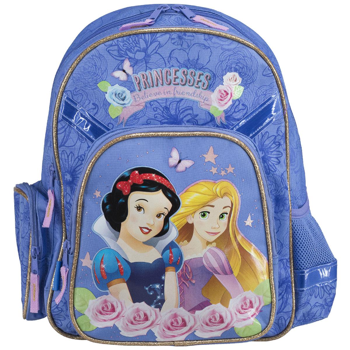 Рюкзак школьный Disney Princess Believe in Friendship, цвет: светло-фиолетовыйPRCB-MT1-9621Рюкзак школьный Disney Princess Believe in Friendship обязательно понравится вашей школьнице. Выполнен из прочных и высококачественных материалов, дополнен изображением милых принцесс. Содержит два вместительных отделения, закрывающиеся на застежки-молнии. В большом отделении находятся две перегородки для тетрадей или учебников. Дно рюкзака можно сделать жестким, разложив специальную панель с пластиковой вставкой, что повышает сохранность содержимого рюкзака и способствует правильному распределению нагрузки. Лицевая сторона оснащена накладным карманом на молнии. По бокам расположены два накладных кармана: на застежке-молнии и открытый, стянутый сверху резинкой. Специально разработанная архитектура спинки со стабилизирующими набивными элементами повторяет естественный изгиб позвоночника. Набивные элементы обеспечивают вентиляцию спины ребенка. Плечевые лямки анатомической формы равномерно распределяют нагрузку на плечевую и воротниковую зоны. Конструкция пряжки...