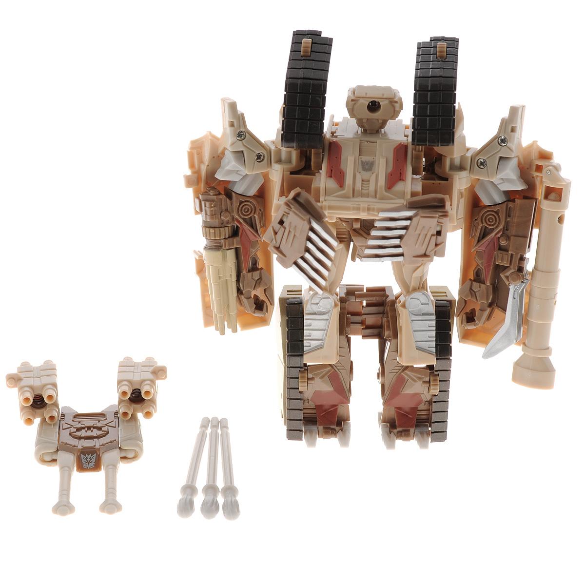 Игрушка-трансформер Праймбот. 8097B951-H21048Робот Праймбот - это робот-трансформер, который не оставит равнодушным ни одного мальчишку, который увлекается трансформерами. Игрушка с легкостью из робота трансформируется в боевой танк и наоборот. Игрушка оснащена пушкой и специальными зарядами. Выстрелы осуществляются при помощи пружинного механизма. Играя с роботом, ребенок развивает мелкую моторику, образное мышление, воображение. Ребенок сможет придумать и разыграть множество различных игровых сюжетов. Чтобы играть было веселее и в компании друзей, можно собрать полную коллекцию роботов-трансформеров.