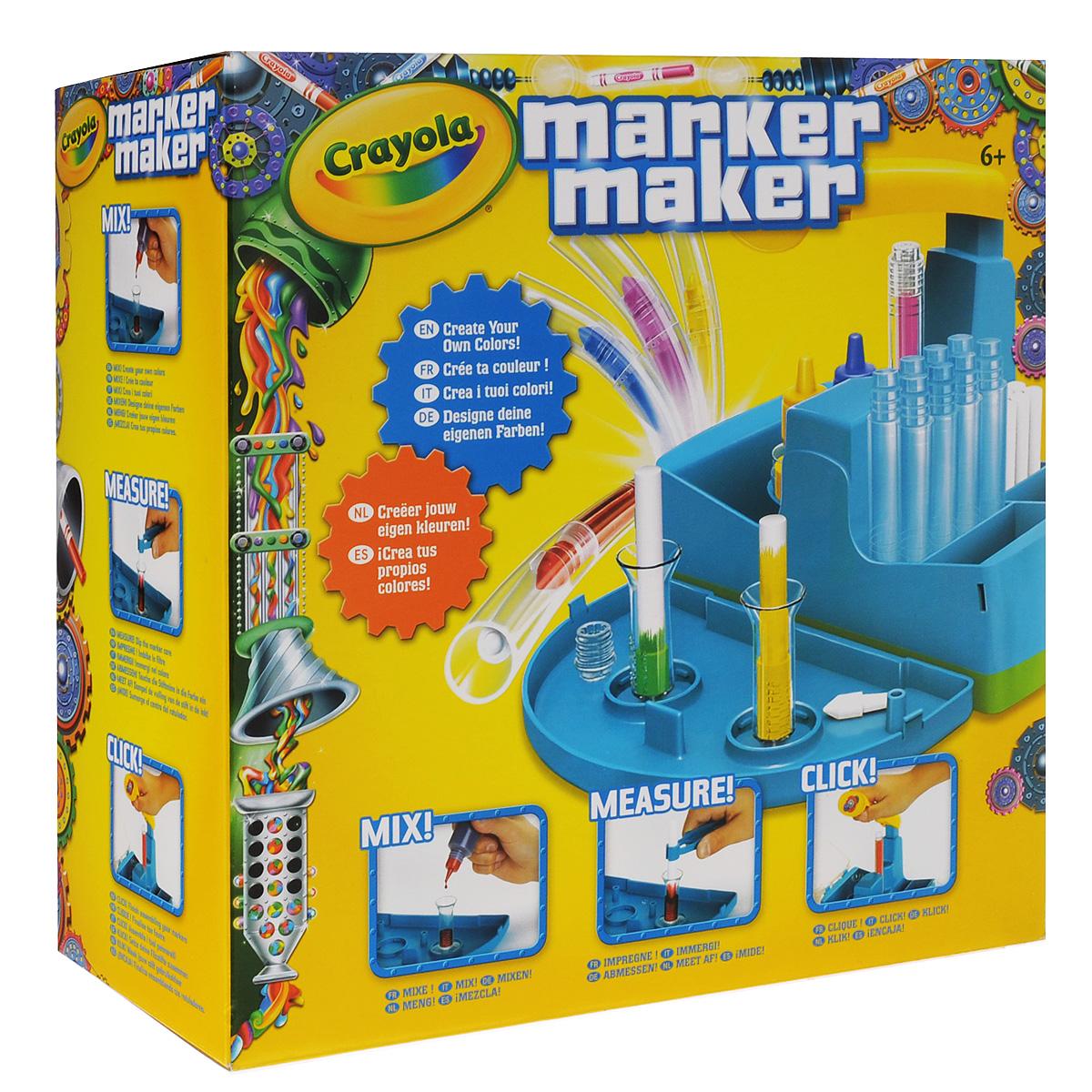 Набор для изготовления фломастеров Crayola Мастер-фломастер74-7054Уникальный набор Crayola Мастер-фломастер представляет собой миниатюрную фабрику по производству фломастеров. Ваш ребенок собственными руками сможет создать фломастер с нужным ему цветом, а инструкция по смешиванию цветов, входящая в комплект, поможет ему в этом. Всего в наборе 16 комплектов деталей фломастеров. В них входит все необходимое для работы - корпусы, наконечники, заглушки, стрежни, колпачки и стикеры. Также в комплекте 3 баночки с чернилами, две колбы для смешивания, две колбы для хранения готовых фломастеров и пинцет. Рекомендуется для детей от 8 лет.