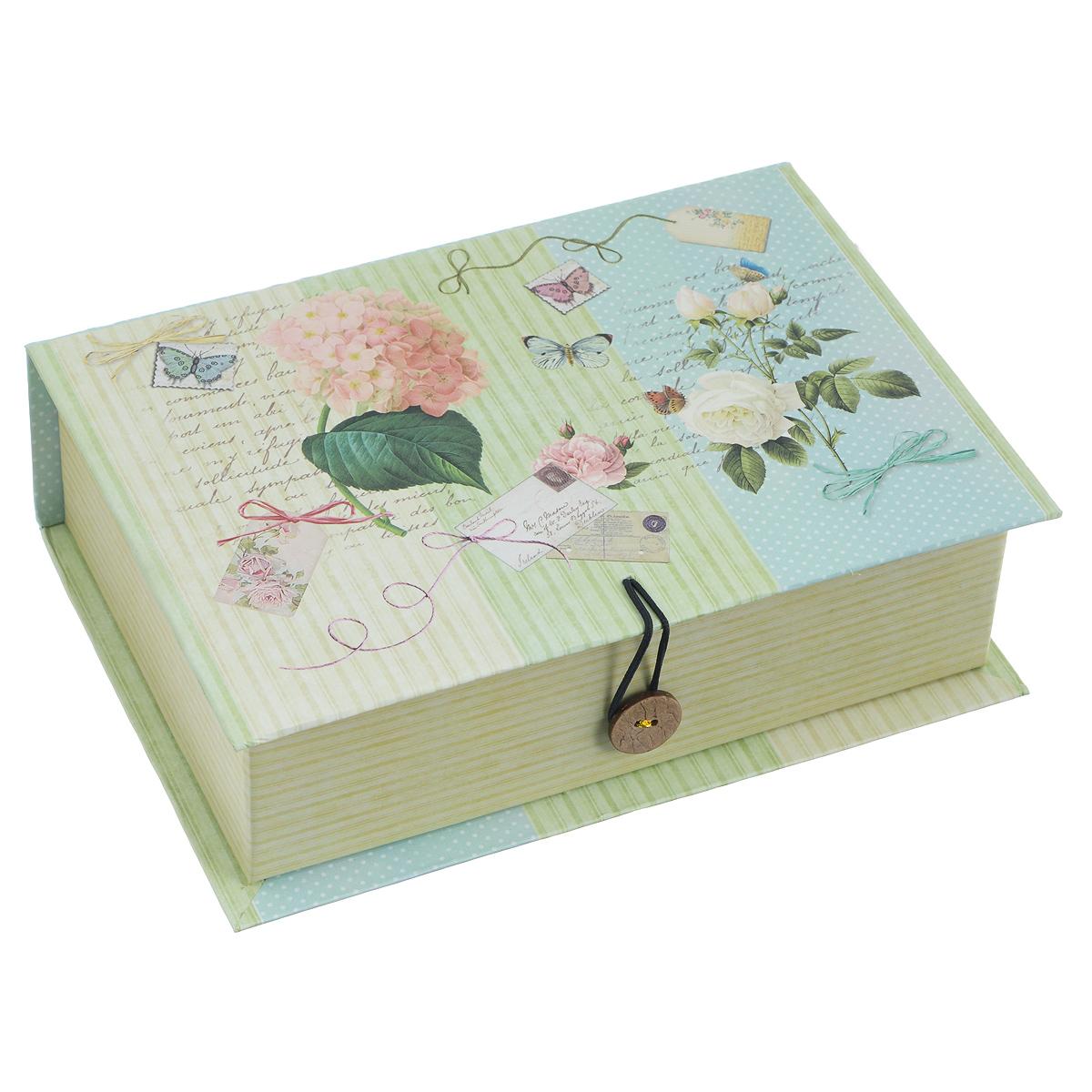 Подарочная коробка Нежность, 20 см х 14 см х 6 см39467Подарочная коробка Нежность выполнена из плотного картона. Изделие оформлено изображением цветов и поздравительных открыток. Коробка закрывается на пуговицу. Подарочная коробка - это наилучшее решение, если вы хотите порадовать ваших близких и создать праздничное настроение, ведь подарок, преподнесенный в оригинальной упаковке, всегда будет самым эффектным и запоминающимся. Окружите близких людей вниманием и заботой, вручив презент в нарядном, праздничном оформлении.