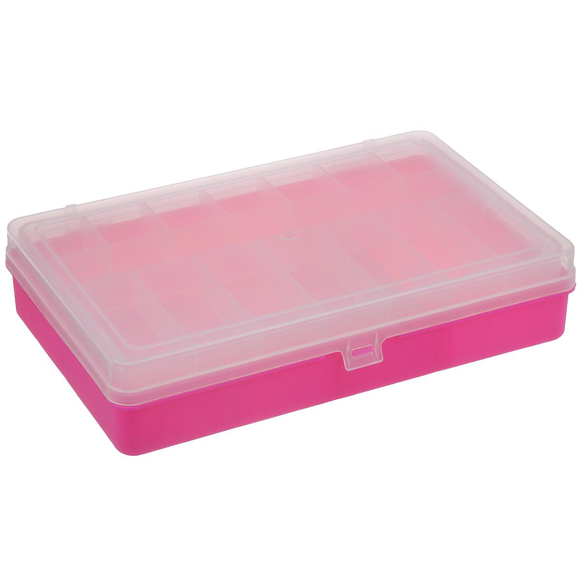 Коробка для мелочей Trivol, двухъярусная, цвет: розовый, 23,5 см х 15 см х 6 см525823_розовыйДвухъярусная коробка для мелочей Trivol изготовлена из высококачественного пластика. Прозрачная крышка позволяет видеть содержимое коробки. Изделие имеет два яруса. Верхний ярус представляет собой съемное отделение, в котором содержится 15 прямоугольных ячеек. Нижний ярус имеет 3 ячейки разного размера. Коробка прекрасно подойдет для хранения швейных принадлежностей, рыболовных снастей, мелких деталей и других бытовых мелочей. Удобный и надежный замок-защелка обеспечивает надежное закрывание крышки. Коробка легко моется и чистится. Такая коробка поможет держать вещи в порядке. Размер самой маленькой ячейки: 3,5 см х 3 см х 1,7 см. Размер самой большой ячейки: 13 см х 14,5 см х 5 см.