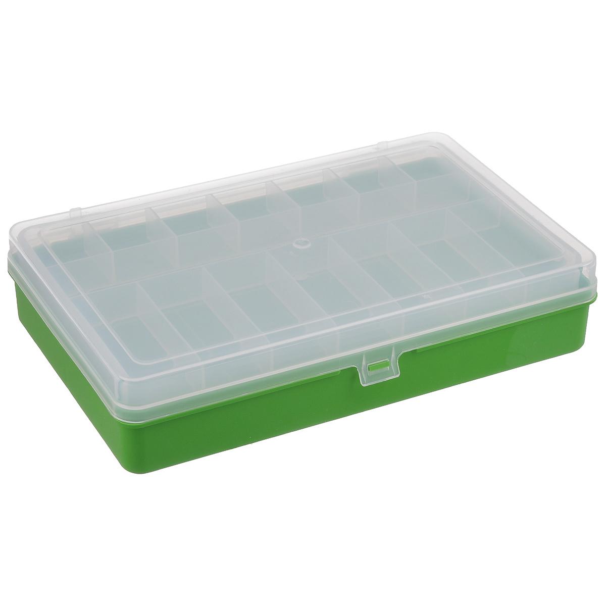 Коробка для мелочей Trivol, двухъярусная, цвет: зеленый, 23,5 х 15 х 6 см525823_зеленыйДвухъярусная коробка для мелочей Trivol изготовлена из высококачественного пластика. Прозрачная крышка позволяет видеть содержимое коробки. Изделие имеет два яруса. Верхний ярус представляет собой съемное отделение, в котором содержится 15 прямоугольных ячеек. Нижний ярус имеет 3 ячейки разного размера. Коробка прекрасно подойдет для хранения швейных принадлежностей, рыболовных снастей, мелких деталей и других бытовых мелочей. Удобный и надежный замок-защелка обеспечивает надежное закрывание крышки. Коробка легко моется и чистится. Такая коробка поможет держать вещи в порядке. Размер самой маленькой ячейки: 3,5 см х 3 см х 1,7 см. Размер самой большой ячейки: 13 см х 14,5 см х 5 см.