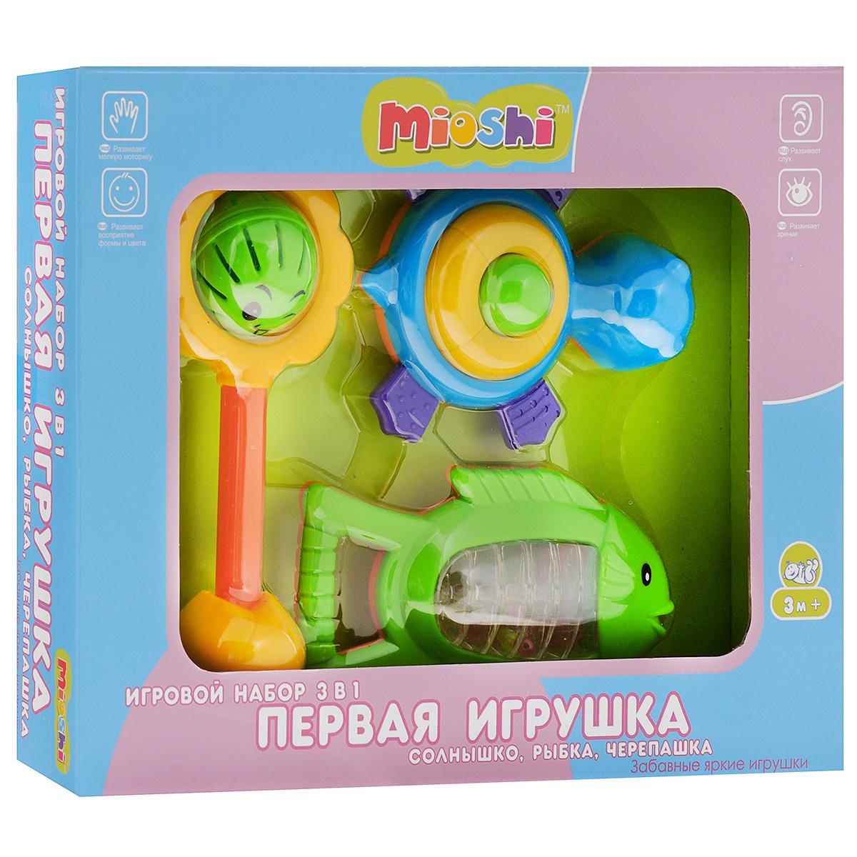 Mioshi Игровой набор Первая игрушка Солнышко Рыбка Черепашка цвет салатовый желтый голубойTY9046Яркие, звонкие, приятные на ощупь погремушки Mioshi Первая игрушка в форме солнышка, рыбки и черепашки станут любимыми игрушками вашей крохи. Игрушки помогают развивать мелкую моторику, восприятие формы и цвета предметов, а также слух и зрение. Игрушки Mioshi созданы специально для малышей, которые только начинают познавать этот волшебный мир. Дети в раннем возрасте всегда очень любознательны, они тщательно исследуют всё, что попадает им в руки. Заботясь о здоровье и безопасности малышей, Mioshi выпускает только качественную продукцию, которая прошла сертификацию.