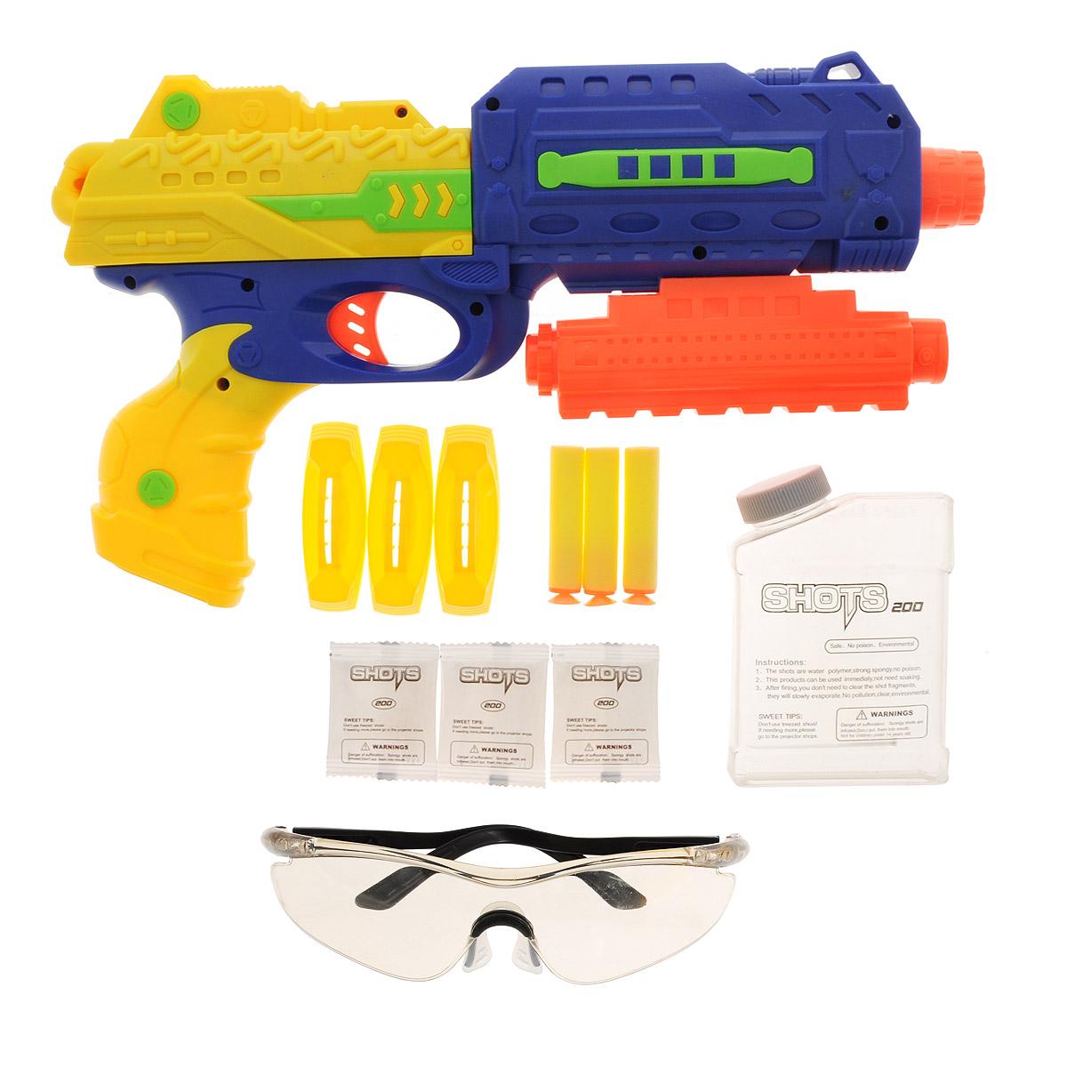 Игровой набор Mioshi Army Стража: Бластер М34, цвет: синий, желтыйMAR1106-008Игровой набор Mioshi Стража: Бластер М34 безусловно понравится любому мальчишке, который любит войнушки и стрелялки. Это многофункциональное и безопасное оружие обладает световыми эффектами, лазерным прицелом и целым набором включая защитные очки для обмундирования, набор шариков в количестве 600 штук, 3 присоски которыми также может стрелять бластер, мишень для усовершенствования навыков стрельбы и одиночных игр. Яркий урбанистический дизайн не может не порадовать современного ребенка, он обязательно привлечет внимание с разнообразием набора и его функционалом, делая вашего ребенка настоящим героем. Дальность стрельбы - до 24 м. Для работы прицела рекомендуется докупить 2 батарейки типа AG13 (товар комплектуется демонстрационными).