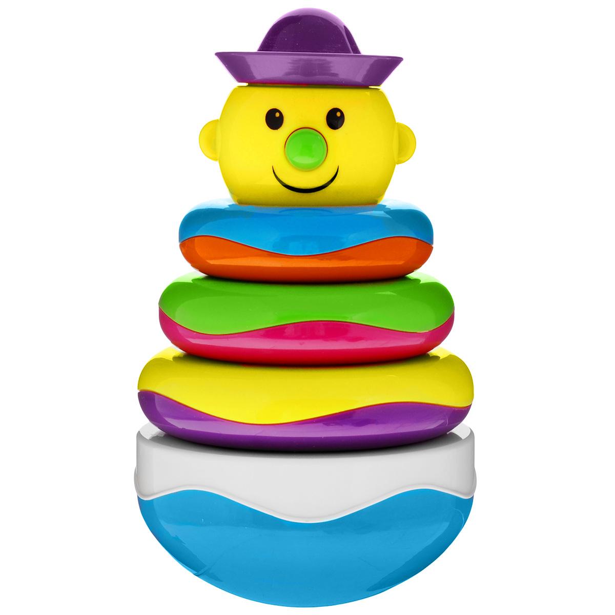 Пирамидка-неваляшка Mioshi Веселый клоунTY9063С первых месяцев жизни малыш начинает интересоваться яркими, подвижными, звонкими предметами, ведь они являются его главными помощниками в изучении нашего удивительного мира. Забавная пирамидка-неваляшка Mioshi Веселый клоун - это многофункциональная игрушка, которая поможет вашему крохе научится фокусировать внимание, даст первые представления о категориях формы и цвета, поспособствует развитию мелкой моторики и сенсорики. Яркая расцветка и приятный звук надолго завладеют вниманием малыша, а когда он немного подрастет, то сможет самостоятельно играть, собирая пирамидку. Заботясь о здоровье малышей, Mioshi выпускает только сертифицированную продукцию из высококачественных, безопасных материалов.
