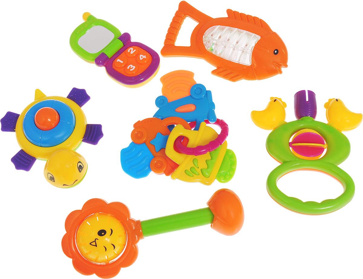 Большой игровой набор Mioshi Первая игрушкаTY9049Яркие, звонкие, приятные на ощупь игрушки из набора Mioshi Первая игрушка станут любимой игрушкой вашей крохи с первых дней жизни. Вместе с набором Mioshi малютки развивают мелкую моторику рук, восприятие формы и цвета предметов, а также слух и зрение. Игрушки Mioshi созданы специально для малышей, которые только начинают познавать этот волшебный мир. Дети в раннем возрасте всегда очень любознательны, они тщательно исследуют всё, что попадает им в руки. Заботясь о здоровье и безопасности малышей, Mioshi выпускает только качественную продукцию, которая прошла сертификацию. В набор входят: игрушки-погремушки в виде солнышка, рыбки, черепашки, птичек, а так же прорезыватель и телефон. Уважаемые клиенты! Обращаем ваше внимание на возможные изменения в дизайне некоторых деталей товара. Поставка осуществляется в зависимости от наличия на складе.