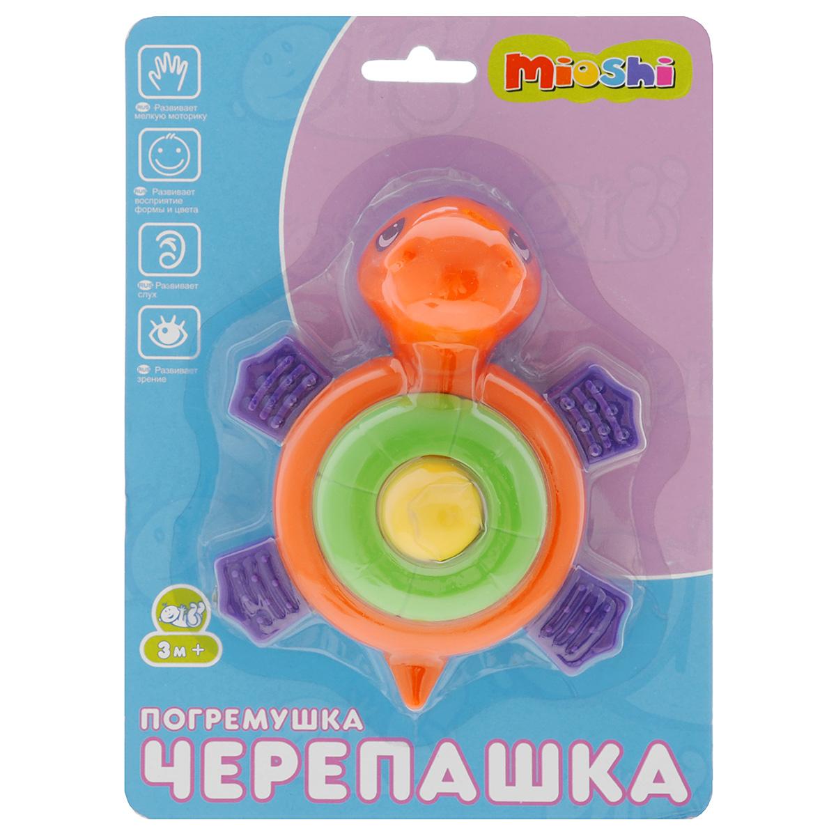 Развивающая игрушка-погремушка Mioshi ЧерепашкаTY9042Яркая развивающая игрушка-погремушка Mioshi Черепашка обязательно понравится вашему малышу. Игрушка выполнена из безопасного пластика в виде черепашки. Эта игрушка создаст очень благоприятное впечатление у ребенка и заинтересует своими звуками. При нажатии на на спинку, черепашка издает легкий писк. Игрушка развивает цветовое и звуковое восприятие, тактильные ощущения и внимательность.