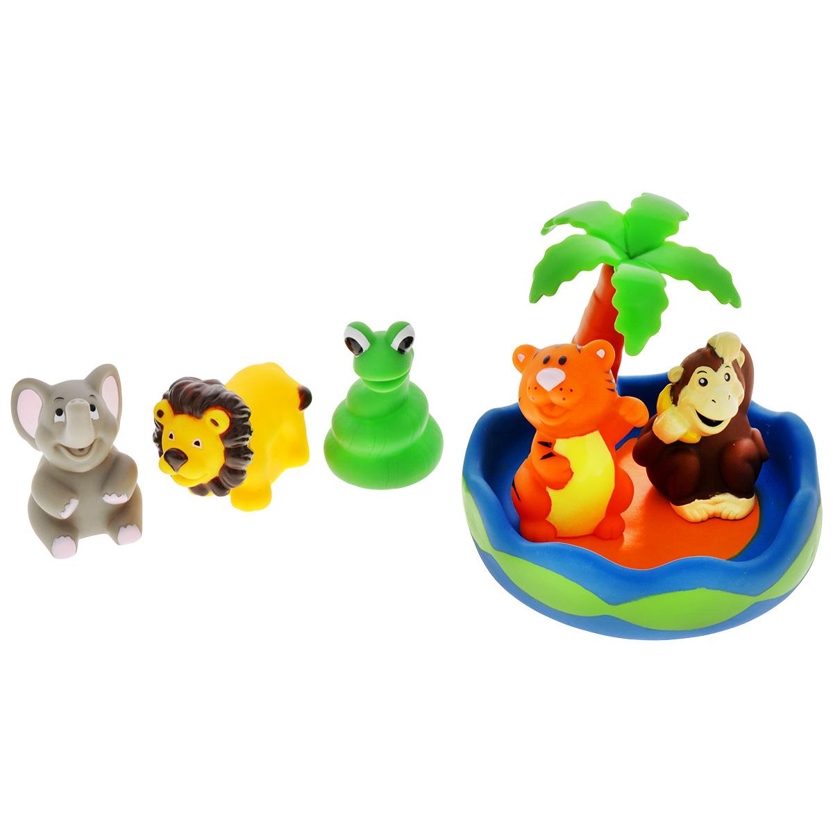 Игровой набор для ванны Mioshi Чудесный остров, 6 штMAU0304-007С набором для ванны Mioshi Чудесный остров принимать водные процедуры станет ещё веселее и приятнее. Компанию при купании малышу составят: остров с пальмой, милашка-львёнок, обезьянка с бананом, улыбающийся слоненок, обаятельный тигренок и змейка. Все составляющие набора приятны на ощупь, имеют удобную для захвата маленькими пальчиками эргономичную форму и быстро сохнут. Забавным дополнением также будет возможность игрушек брызгать водой при сжатии. Устраивайте водные сражения! Игрушки Mioshi Aqua помогают малышам быстрее приспосабливаться к водной среде, а процесс принятия водных процедур делают веселым и увлекательным.