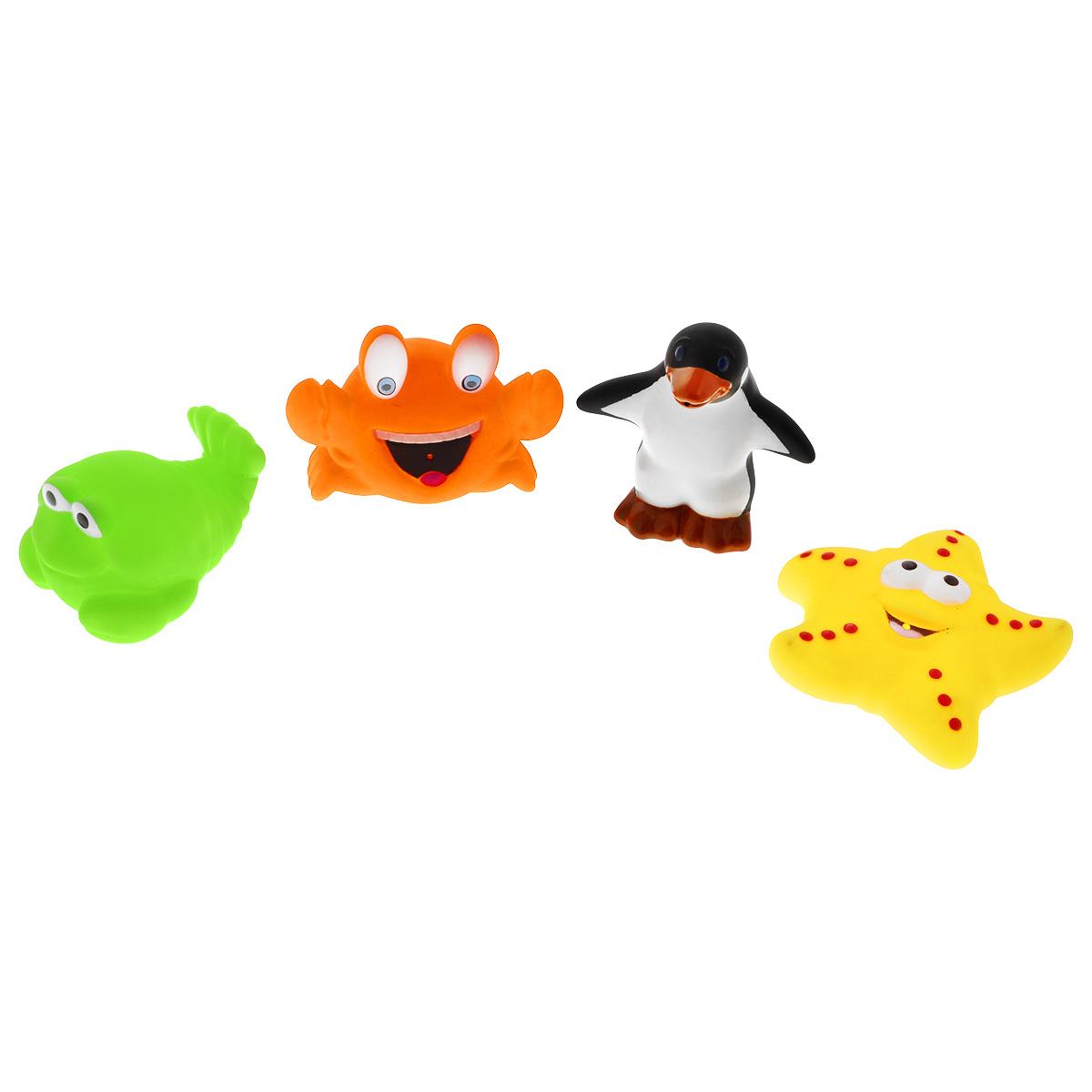 Игровой набор для ванны Mioshi Солнечный пляж, 4 штMAU0304-003С набором для ванны Mioshi Солнечный пляж принимать водные процедуры станет ещё веселее и приятнее. В комплекте малыш обнаружит морскую звездочку, краба, рыбку и пингвина. Все составляющие набора приятны на ощупь, имеют удобную для захвата маленькими пальчиками эргономичную форму и быстро сохнут. Забавным дополнением также будет возможность игрушек брызгать водой при сжатии. Устраивайте водные сражения! Игрушки Mioshi Aqua помогают малышам быстрее приспосабливаться к водной среде, а процесс принятия водных процедур делают веселым и увлекательным.