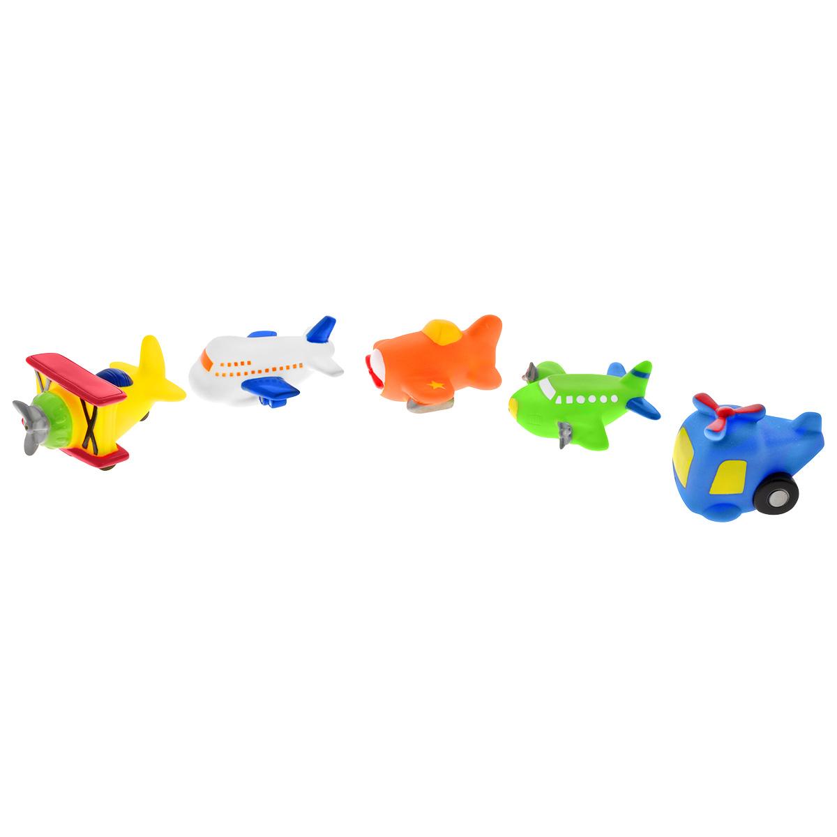 Игровой набор для ванны Mioshi Воздушное путешествие, 5 штMAU0304-011С набором для ванны Mioshi Воздушное путешествие ваш малыш с удовольствием будет совершать воздушное путешествие на территории ванной комнаты. В комплекте малыш обнаружит набор из 5 красочных авиатранспортных средств. Все составляющие набора приятны на ощупь, имеют удобную для захвата маленькими пальчиками эргономичную форму и быстро сохнут. Забавным дополнением также будет возможность игрушек брызгать водой при сжатии. Устраивайте водные сражения! Игрушки Mioshi Aqua помогают малышам быстрее приспосабливаться к водной среде, а процесс принятия водных процедур делают веселым и увлекательным.