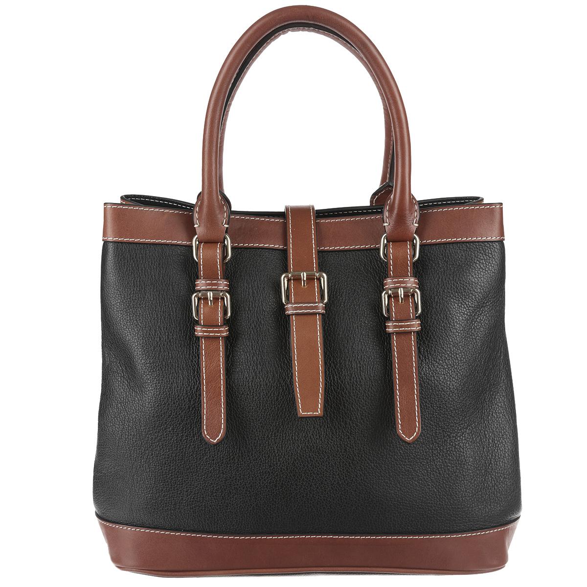 Сумка женскя Frija, цвет: черный, коричневый. 21-0161-1321-0161-13Стильная женская сумка Frija выполнена из натуральной кожи в классическом стиле. Внутри сумки одно основное отделение и два внутренних кармана для телефона и мелочей, два из которых на молнии. Снаружи сумка закрывается на молнию и на хлястик на магните, по бокам крепится кнопками, поэтому ее можно носить в развернутом виде. Высота ручек 14 см. Высота плечевого ремня 137 см. В комплекте чехол для хранения. Роскошная сумка внесёт элегантные нотки в ваш образ и подчеркнёт отменное чувство стиля.