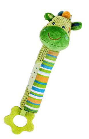 Жирафики Развивающая игрушка Веселый зоопарк, с пищалкой и прорезывателем, цвет: зеленый93807Эта развивающая игрушка сделана из ярких тканей разных цветов и разной фактуры. Как же интересно ее держать в руках! Если надавить на тельце зверюшки, то игрушка запищит. Фигурный прорезыватель предназначен для массажа десен. Играя, ребенок развивает слух, зрение, хватательный рефлекс, тактильные ощущения и мелкую моторику рук