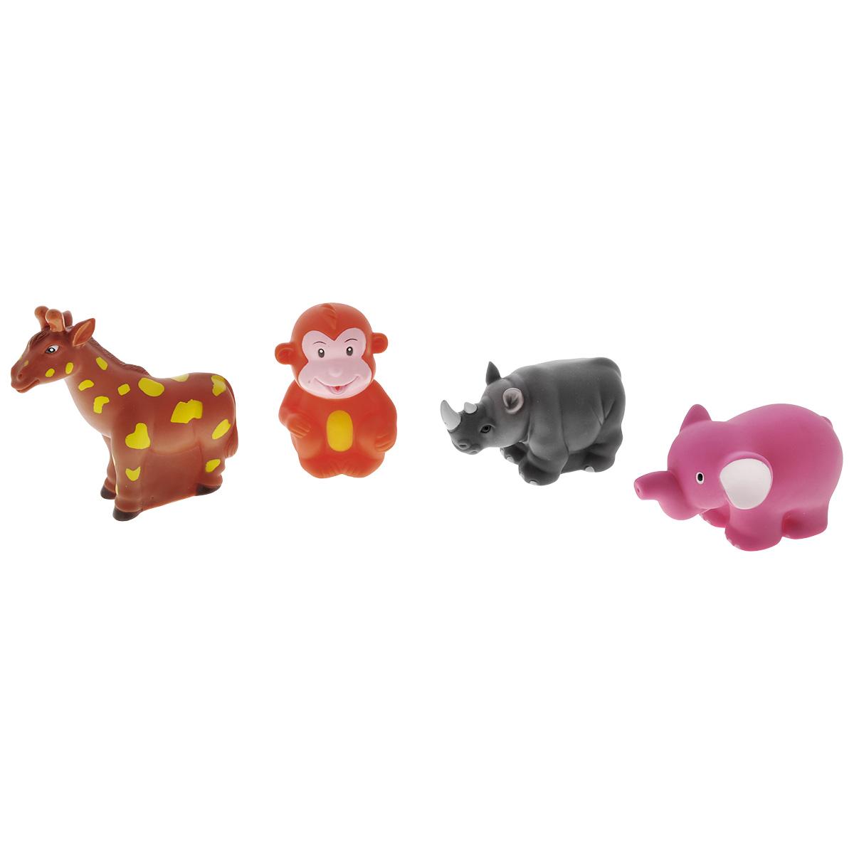 Игровой набор для ванны Mioshi Солнечная Африка, 4 штMAU0304-005С набором для ванны Mioshi Солнечная Африка в виде экзотических зверушек-игрушек купание станет любимым развлечением вашего крохи. В комплекте набора малыш обнаружит: пятнистого жирафика, розового слоника, обезьянку и носорога. Все составляющие набора приятны на ощупь, имеют удобную для захвата маленькими пальчиками эргономичную форму и быстро сохнут. Забавным дополнением также будет возможность игрушек брызгать водой при сжатии. Устраивайте водные сражения! Игрушки Mioshi Aqua помогают малышам быстрее приспосабливаться к водной среде, а процесс принятия водных процедур делают веселым и увлекательным.