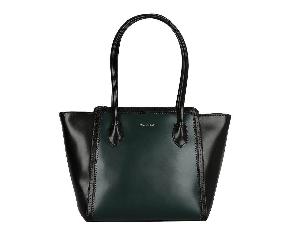 Сумка женская Galaday, цвет: зеленый, черный. GD4713GD4713Стильная женская сумка Galaday изготовлена из гладкой натуральной кожи и оформлена вставкой контрастного цвета. Ручки-жгуты прочно крепятся к корпусу изделия и позволяют носить сумку как на сгибе руки, так и на плече. Изделие закрывается на застежку-молнию. Внутреннее отделение разделено средником на застежке-молнии, содержит 2 накладных кармана для мобильного телефона и мелочей и 1 врезной карман на застежке-молнии. Тыльную сторону дополняет врезной карман на застежке-молнии. Модель держит форму. Фурнитура серебряного цвета. Дно защищено от повреждений металлическими ножками. Изделие упаковано в фирменный чехол-сумку. Galaday - роскошный дизайн, практичность и современный стиль.