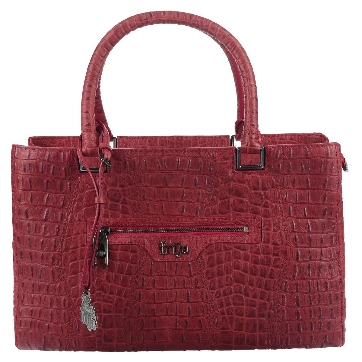 Сумка женская Frija, цвет: красный. 21-0014-1121-0014-11Оригинальная сумка Frija порадует своих обладательниц неповторимым, ярким дизайном, материалами безупречного качества и великолепным исполнением. Сумка выполнена из натуральной кожи и оформлена под крокодила. Закрывается на металлическую застежку-молнию. Выходящий край молнии фиксируется на кнопку к боковой стенке сумки. Модель имеет жёсткую форму. Содержит основное вместительное отделение, разделенное карманом-перегородкой на молнии, боковой врезной карман на застежке-молнии и объемный накладной кармашек из кожи для телефона. Сумка оснащена двумя ручками для ношения в руке или на локтевом сгибе. Ручки дополнены съемным брелоком с логотипом. Внутри модель имеет одно вместительное отделение, врезной карман на молнии и нашивной карман для телефона и мелочей. Лицевая сторона сумки оформлена врезным карманом на молнии с логотипом. Дно защищено от повреждений металлическими ножками. Сумка из данной коллекции послужит элегантным дополнением к гардеробу...