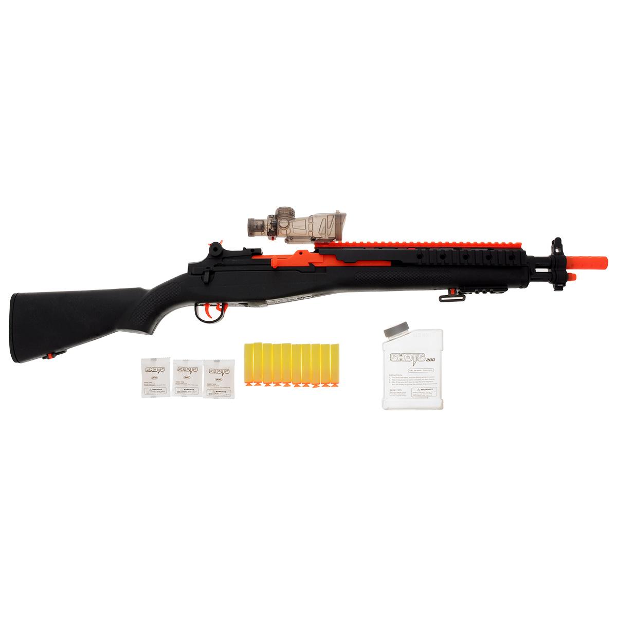 Винтовка Mioshi Army Стража: М79, цвет: черныйMAR1106-012Винтовка Mioshi Army Стража: М79 безусловно, понравится любому мальчишке, который любит войнушки и стрелялки. Это многофункциональное и самое безопасное в мире оружие обладает световыми эффектами, лазерным прицелом и целым набором включая набор шариков в количестве 600 штук и 10 присосок, которыми так же может стрелять винтовка. Яркий урбанистический дизайн так же не может не порадовать современного ребенка, он обязательно привлечет внимание в купе с разнообразием набора и его функционалом, делая вашего ребенка настоящим героем двора. . В набор входит 600 гелевых шариков. Длина винтовки - 79 см. Дальность стрельбы - до 24 м. Для работы подсветки требуются 2 батарейки AG13 (входят в комплект).