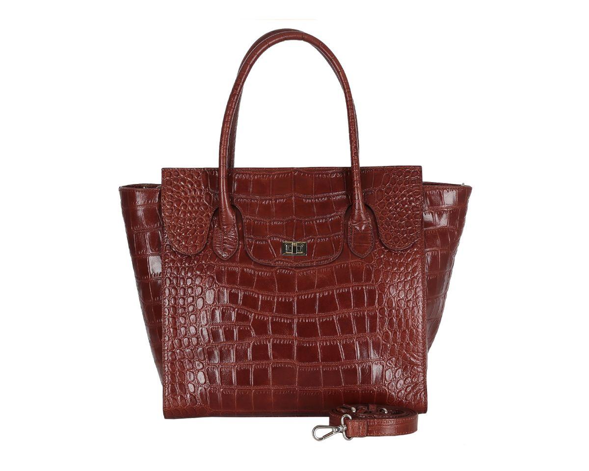 Сумка женская Palio, цвет: коричневый. 13962A1-W213962A1-W2Потрясающая женская сумка Palio изготовлена из натуральной кожи с фактурным тиснением под кожу крокодила. Сумка оснащена двумя удобными ручками и съемным плечевым ремнем регулируемой длины. Изделие закрывается на застежку-молнию. Лицевая сторона оформлена декоративным клапаном с замком- вертушкой. Внутреннее отделение разделено средником на застежке-молнии, содержит 2 накладных кармана для мобильного телефона и мелочей и врезной карман на застежке-молнии. На тыльной стороне расположен врезной карман без застежки. Фурнитура серебряного цвета. Дно защищено от повреждений металлическими ножками. Изделие упаковано в фирменный чехол. Сумка уже давно перестала быть просто аксессуаром в женском образе - это самая верная спутница любой модницы. С аксессуарами Palio ваш образ будет запоминающимся и оригинальным.