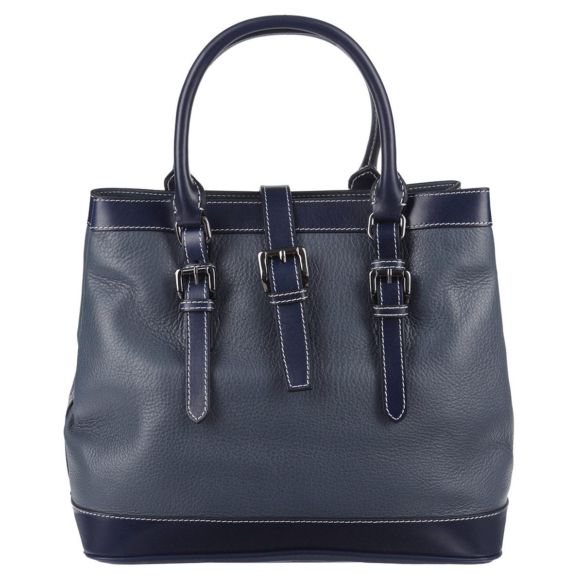 Сумка женская Frija, цвет: синий, темно-синий. 21-0161-1321-0161-13Стильная женская сумка Frija выполнена из натуральной кожи в классическом стиле. Внутри сумки одно основное отделение и два внутренних кармана для телефона и мелочей, два из которых на молнии. Снаружи сумка закрывается на молнию и на хлястик на магните, по бокам крепится кнопками, поэтому ее можно носить в развернутом виде. Высота ручек 14 см. Высота плечевого ремня 137 см. В комплекте чехол для хранения. Роскошная сумка внесёт элегантные нотки в ваш образ и подчеркнёт отменное чувство стиля.