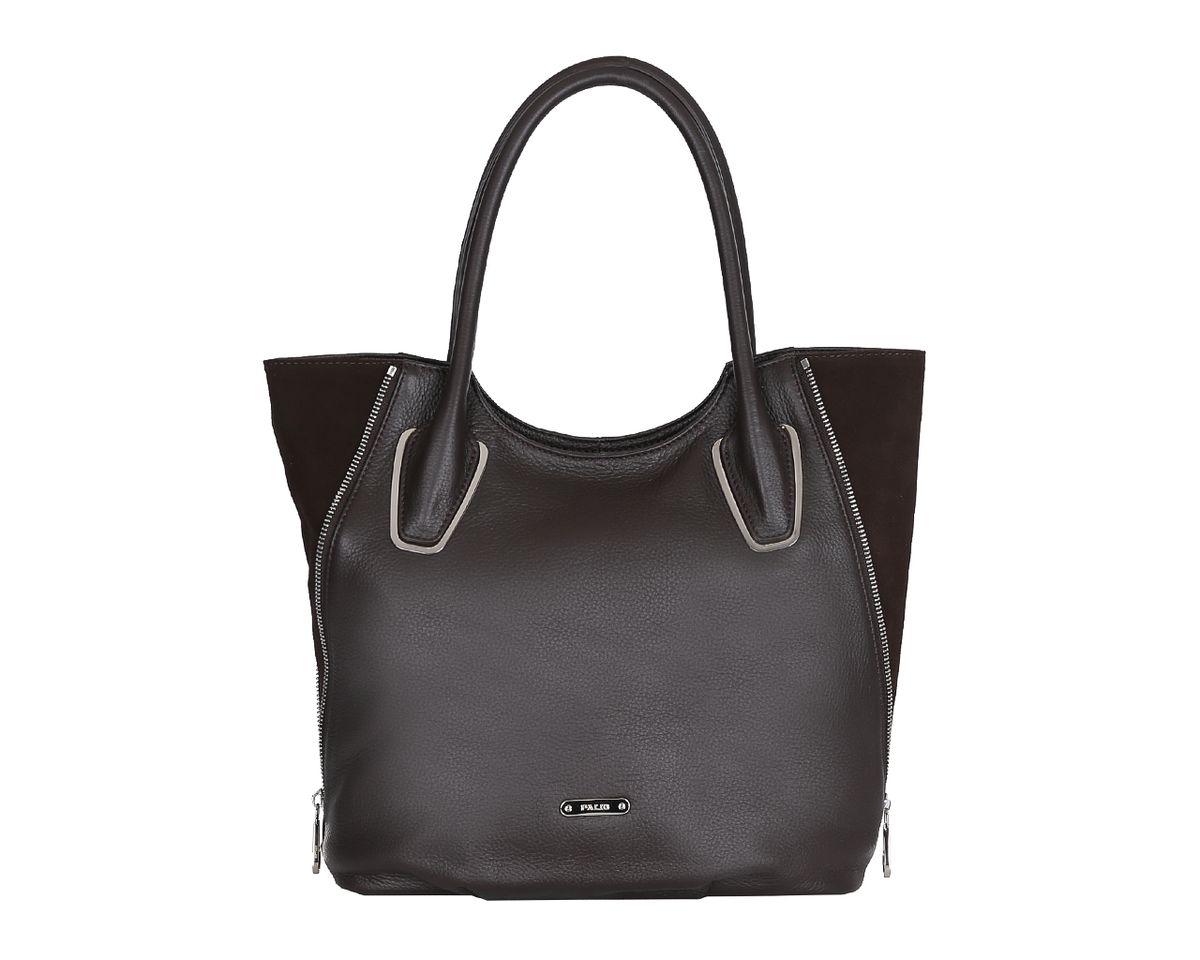 Сумка женская Palio, цвет: темно-коричневый. 14115A-W114115A-W1Потрясающая женская сумка Palio изготовлена из мягкой натуральной кожи и оформлена вставками из замши. Высота ручек позволяет носить сумку на плече. Основания ручек украшены металлическими накладками. Боковые стороны дополнены декоративными молниями. Изделие закрывается на застежку- молнию. Внутреннее отделение разделено средником на застежке-молнии, содержит 2 накладных кармана для мобильного телефона и мелочей и врезной карман на застежке-молнии. На тыльной стороне расположен вшитый карман на застежке-молнии. Фурнитура серебряного цвета. Изделие упаковано в фирменный чехол. Сумка уже давно перестала быть просто аксессуаром в женском образе - это самая верная спутница любой модницы. С аксессуарами Palio ваш образ будет запоминающимся и оригинальным.