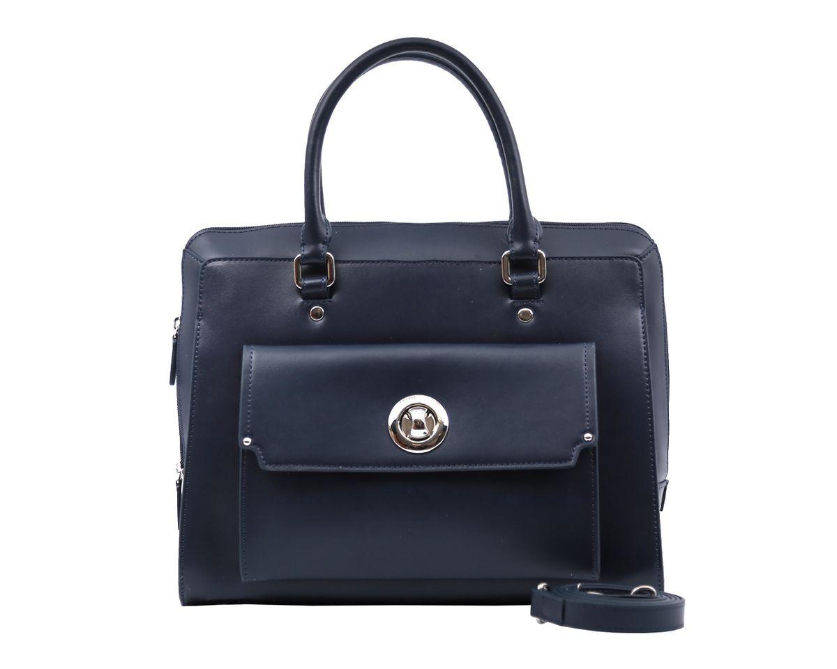 Сумка женская Galaday, цвет: синий. GD5742GD5742Стильная женская сумка Galaday изготовлена из гладкой натуральной кожи. Сумка оснащена двумя удобными ручками и съемным плечевым ремнем. Изделие закрывается на застежку-молнию. Лицевая сторона украшена накладным карманом, который закрывается клапаном на замок-вертушку. Внутреннее отделение содержит два кармана на застежках-молниях, которые образуют открытый карман на застежке-кнопке, и два накладных кармашка для мелочей и мобильного телефона. Тыльную сторону дополняет вшитый карман на застежке- молнии. Модель держит форму. Размеры вмещают формат А4. Фурнитура серебряного цвета. Дно защищено от повреждений металлическими ножками. Изделие упаковано в фирменный чехол. Galaday - роскошный дизайн, практичность и современный стиль.
