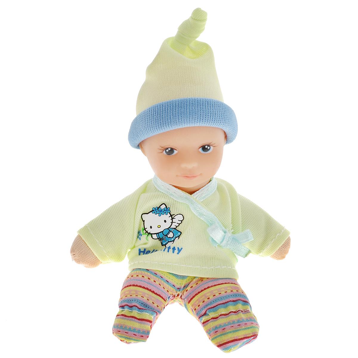 Simba Пупс Hello Kitty цвет салатовый5013363Пупс Simba Hello Kitty непременно приведет в восторг вашу дочурку. Голова пупса выполнена из прочного пластика, а тело - мягконабивное. Очаровательный малыш одет в рубашку салатового цвета, оформленную принтом с изображением кошечки Китти, а на голове у него - салатовый чепчик. Рубашка фиксируется при помощи липучки на спинке. Пупс упакован в оригинальную пластиковую бутылочку. Трогательный пупс принесет радость и подарит своей обладательнице мгновения нежных объятий. Игры с куклами способствуют эмоциональному развитию, помогают формировать воображение и художественный вкус, а также разовьют в вашей малышке чувство ответственности и заботы. Великолепное качество исполнения делают эту куколку чудесным подарком к любому празднику.