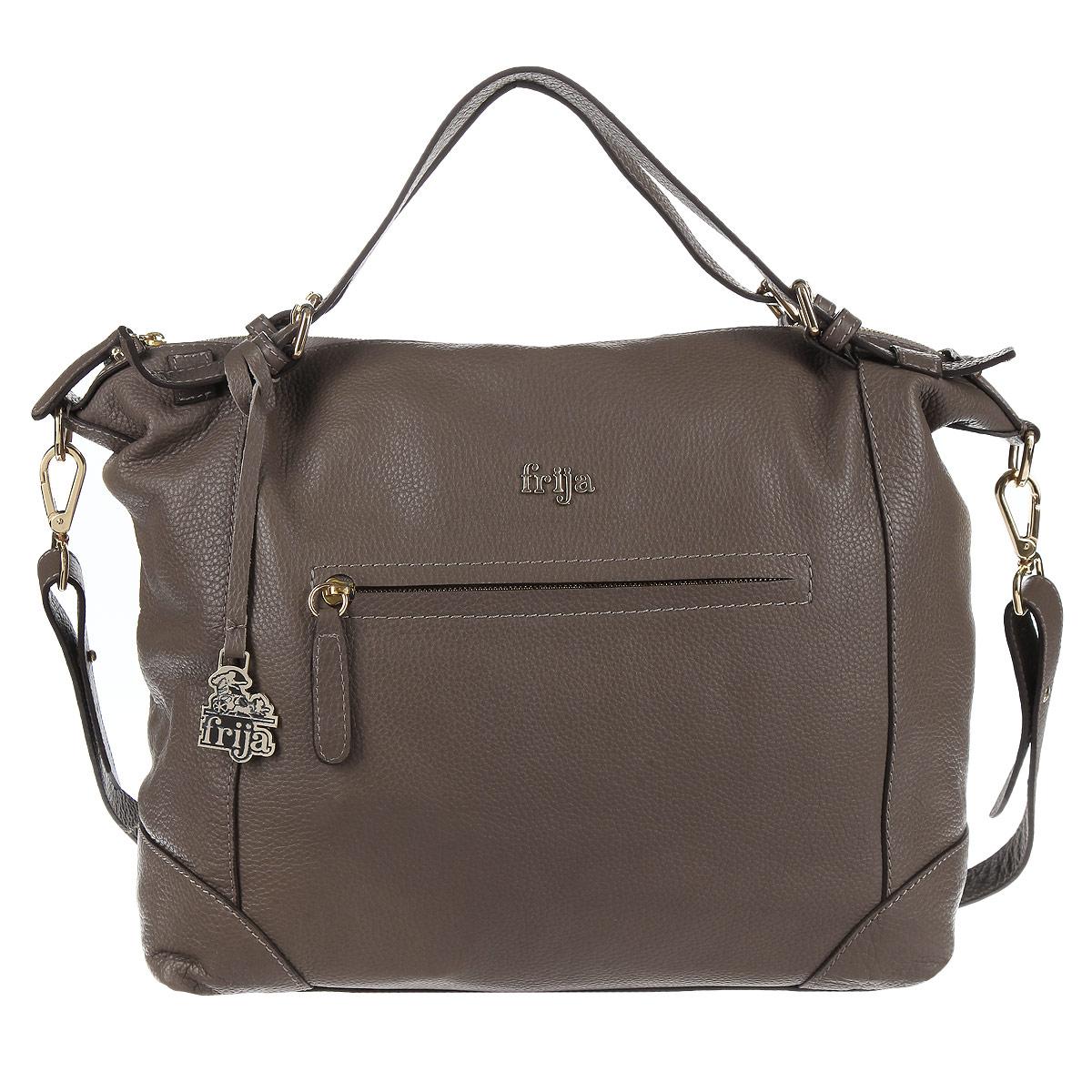 Сумка женская Frija, цвет: серый. 21-0173-1321-0173-13Стильная женская сумка Frija выполнена из натуральной кожи в классическом стиле. Внутри сумки одно основное отделение и два внутренних кармана для телефона и мелочей, два из которых на молнии. Снаружи сумка закрывается на молнию. Также снаружи на передней и задней стенке есть два декоративных ремешка с подвеской на коже из металла и один карман (на передней стенке), который закрывается на молнию. Длина плечевого ремня 104 см. В комплекте чехол для хранения. Роскошная сумка внесёт элегантные нотки в ваш образ и подчеркнёт отменное чувство стиля. - размер: длина по дну— 35,5 см, ширина - 13 см, высота - 26 см, высота ручек - 13 см, длина съемного плечевого ремня - 87 см - внутри сумки одно основное отделение и три внутренних кармана для телефона и мелочей, один из которых на молнии - снаружи сумка закрывается на молнию, на передней стенке карман на молнии