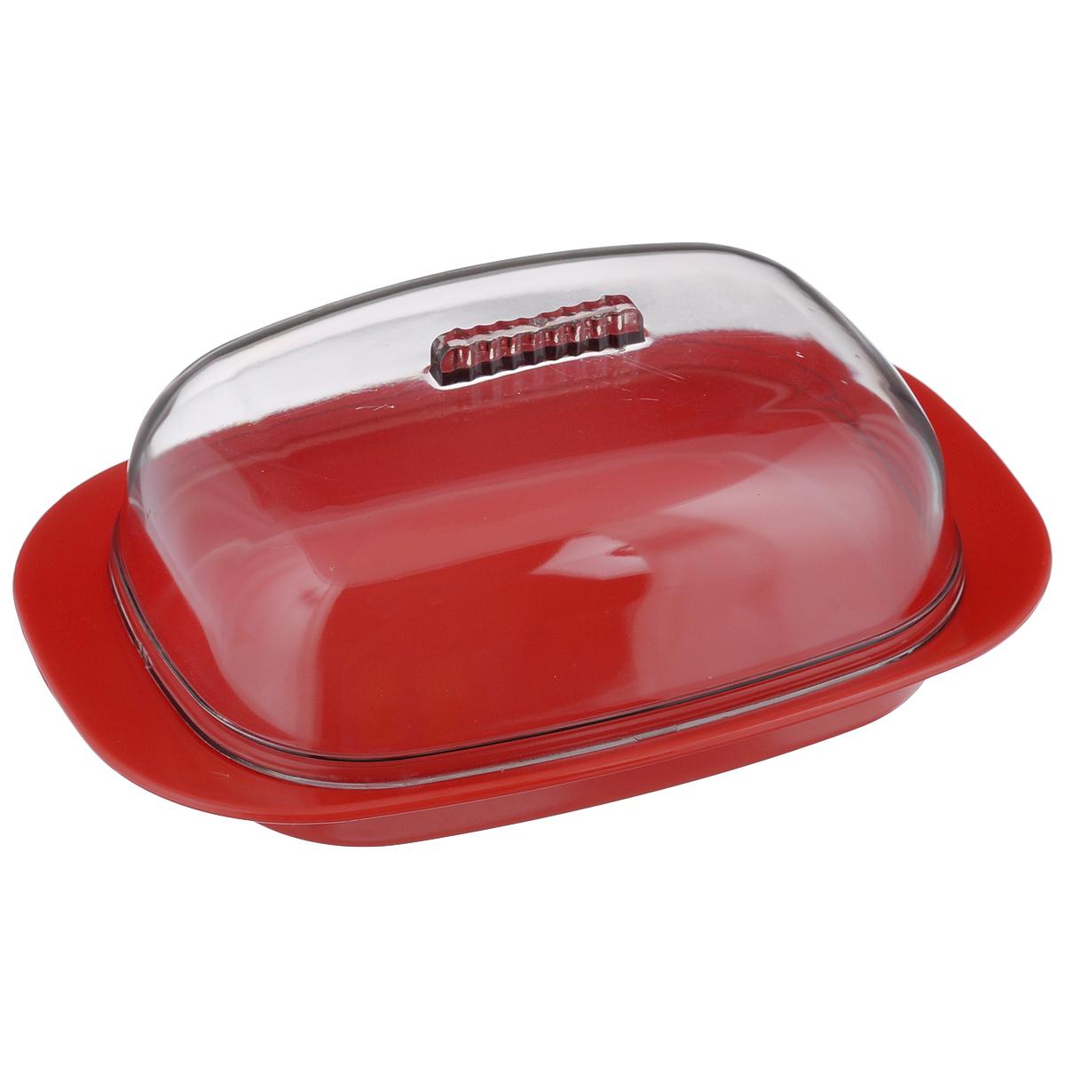 Масленка Idea, цвет: красный, прозрачныйМ 1125Масленка Idea, выполненная из высококачественного полипропилена и полистирола, предназначена для хранения масла. Она состоит из подноса и прозрачной крышки с ручкой. На подносе имеются специальные выемки, благодаря которым крышка легко на него устанавливается. Благодаря такой масленке ваше масло всегда будет свежим. Нельзя мыть в посудомоечной машине. Размер подноса: 18,5 см х 12,5 см х 2,5 см. Размер крышки: 15 см х 10 см х 5 см.