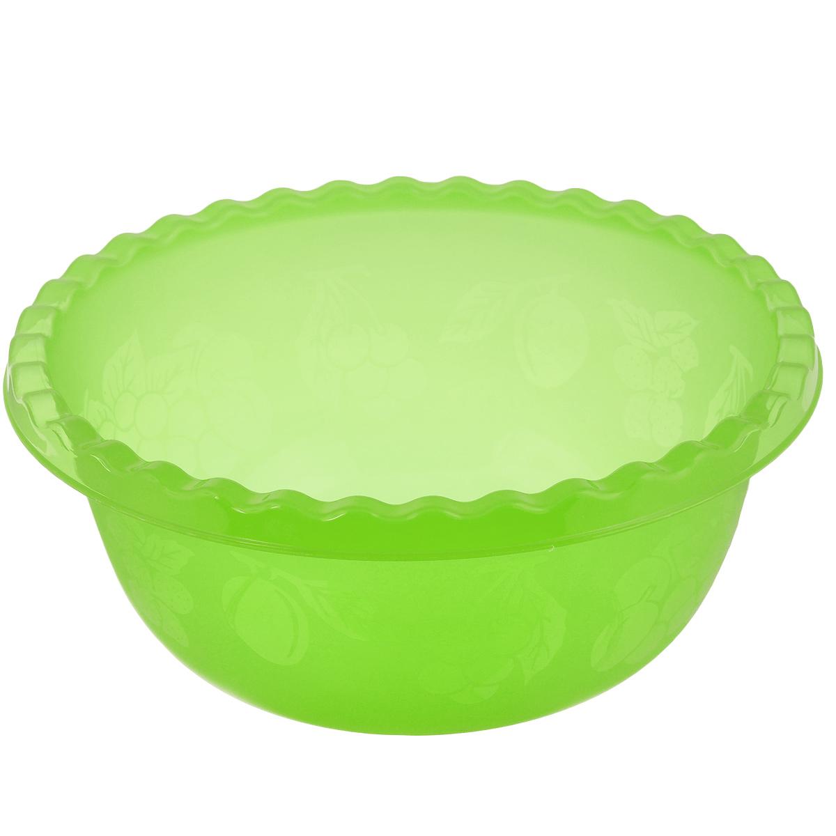 Миска Idea, цвет: салатовый, 5 лМ 1313Вместительная миска Idea изготовлена из высококачественного пищевого пластика. Изделие очень функциональное, оно пригодится на кухне для самых разнообразных нужд: в качестве салатника, миски, тарелки. По периметру миска украшена узором в виде фруктов. Диаметр миски: 28,5 см. Высота миски: 12 см. Объем: 5 л.