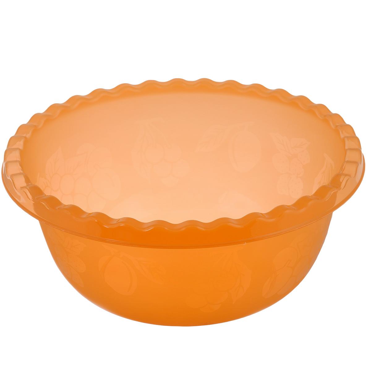 Миска Idea, цвет: оранжевый, 5 лМ 1313Вместительная миска Idea изготовлена из высококачественного пищевого пластика. Изделие очень функциональное, оно пригодится на кухне для самых разнообразных нужд: в качестве салатника, миски, тарелки. По периметру миска украшена узором в виде фруктов. Диаметр миски: 28,5 см. Высота миски: 12 см. Объем: 5 л.