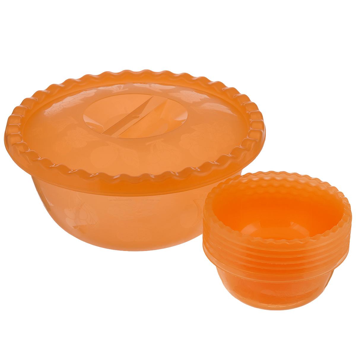 Набор мисок для салата Idea, цвет: оранжевый, 8 предметовМ 1330Набор Idea, состоящий из семи мисок и крышки, выполнен из прочного пластика. Миски являются универсальным приобретением для любой кухни. С их помощью можно готовить любые салаты и даже сервировать стол. Оригинальный дизайн, высокое качество и функциональность набора Idea позволят ему стать достойным дополнением к вашему кухонному инвентарю. Можно мыть в посудомоечной машине. Диаметр мисок: 24 см; 12,5 см. Высота стенок: 10 см; 5,5 см. Объем мисок: 3 л; 450 мл.