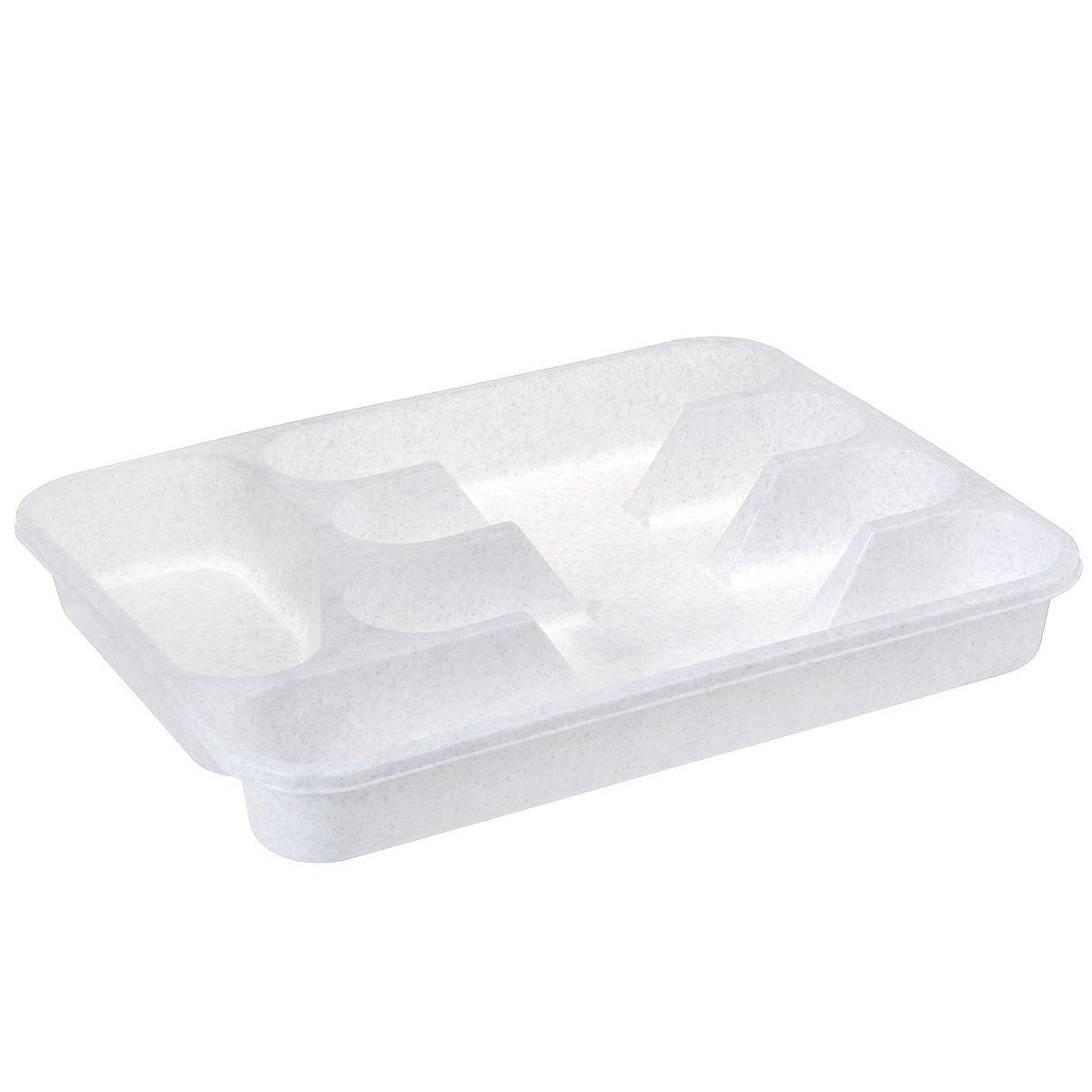Лоток для столовых приборов Idea, цвет: мраморный, 33 х 26 смМ 1140Лоток для столовых приборов Idea изготовлен из прочного пластика. Изделие имеет 3 одинаковых секции для столовых ложек, вилок и ножей, секцию для чайных ложек и длинную секцию для различных кухонных принадлежностей. Лоток помещается в любой кухонный ящик.