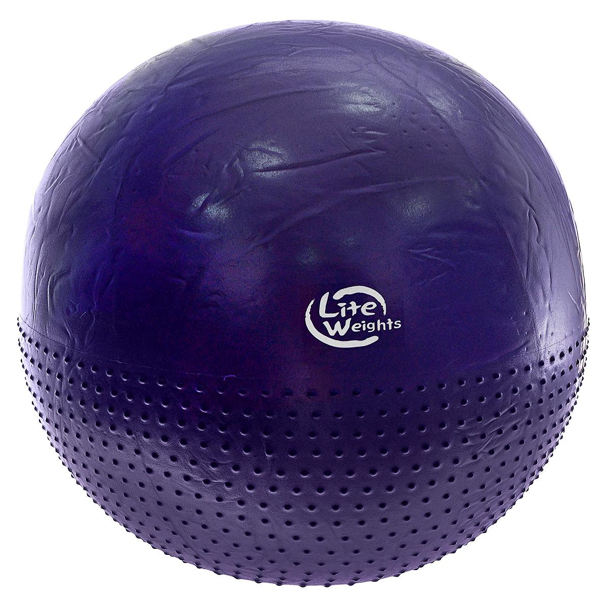 Мяч гимнастический Lite Weights, массажный, цвет: фиолетовый, диаметр 75 см. BB010-30BB010-30Гимнастический мяч (фитбол) Lite Weights изготовлен из силикона. Мяч предназначен для занятий фитнесом, аэробикой, лечебной физкультурой, а также обеспечивает улучшение кровообращения. Фитбол является универсальным тренажером для всех групп мышц, помогает развить гибкость, исправить осанку, снимает чувство усталости в спине. Мяч Lite Weights снабжен системой Антивзрыв - специальный технологией, предупреждающей мяч от разрыва при сильной нагрузке. Благодаря пупырчатой поверхности, фитбол можно использовать для массажа, выполняя несложные упражнения. Преимущества гимнастических мячей: - их могут использовать люди, страдающие лишним весом и варикозным расширением вен; - во время тренировки задействуются практически все группы мышц; - используются при занятиях лечебной гимнастикой, аэробикой, фитнесом; - способствуют восстановлению мышечных функций и улучшению здоровья в целом. В комплект входит пластиковый ручной...