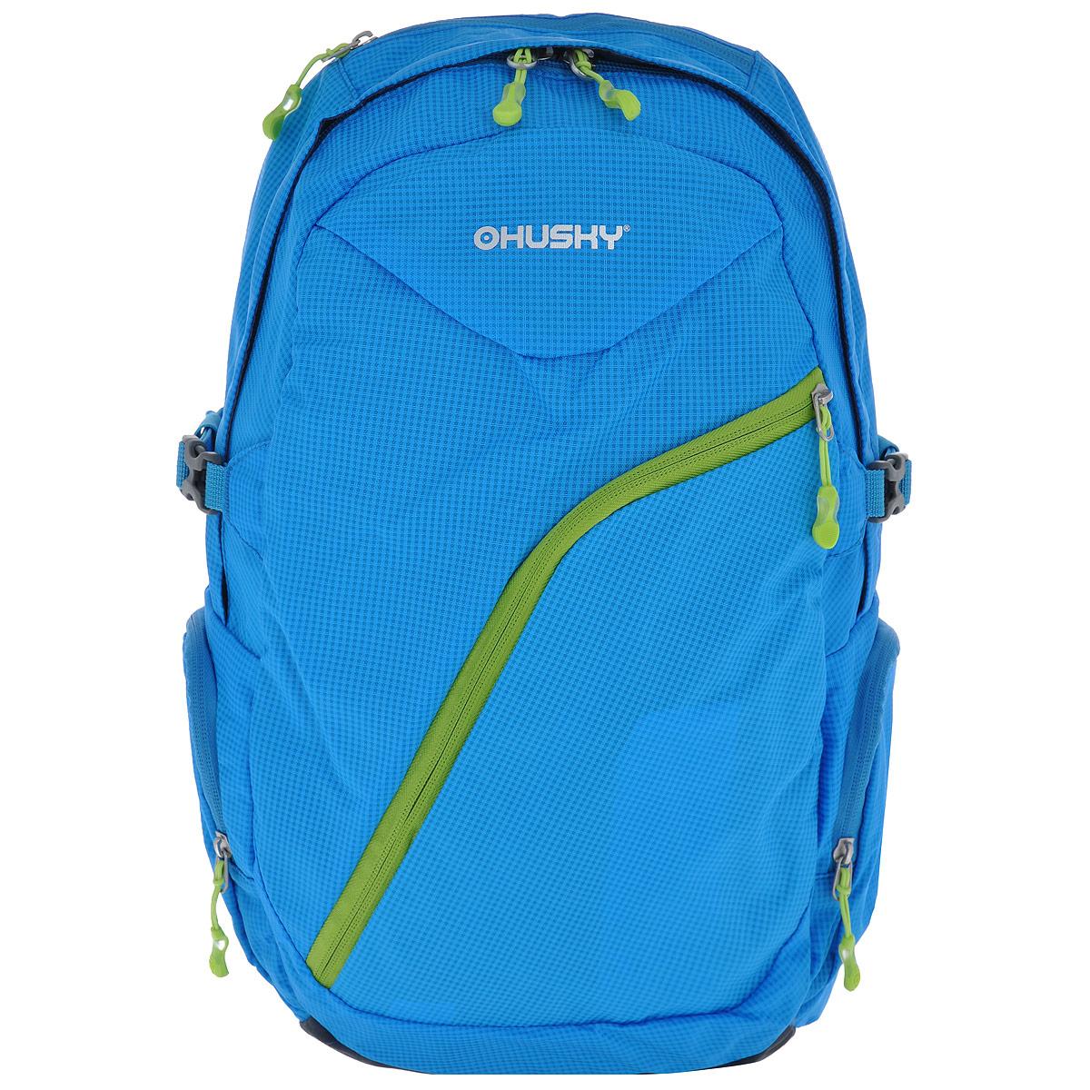 Рюкзак городской Husky Nexy, цвет: голубой, салатовый, 22 лУТ-000066111Городской рюкзак Husky Nexy изготовлен из водонепроницаемого нейлона, оснащен светоотражающими элементами. Рюкзак содержит одно главное отделение, в котором есть карман для переноски ноутбука или планшета.На лицевой стороне находится карман на молнии, внутри которого расположены 4 накладных кармана для канцелярии. По бокам рюкзака находятся 2 кармана на молнии. Сверху также есть 1 карман на застежке-молнии. Рюкзак очень удобно носить благодаря системе вентиляции спины AMS и широким лямкам. Вес: 550 г.