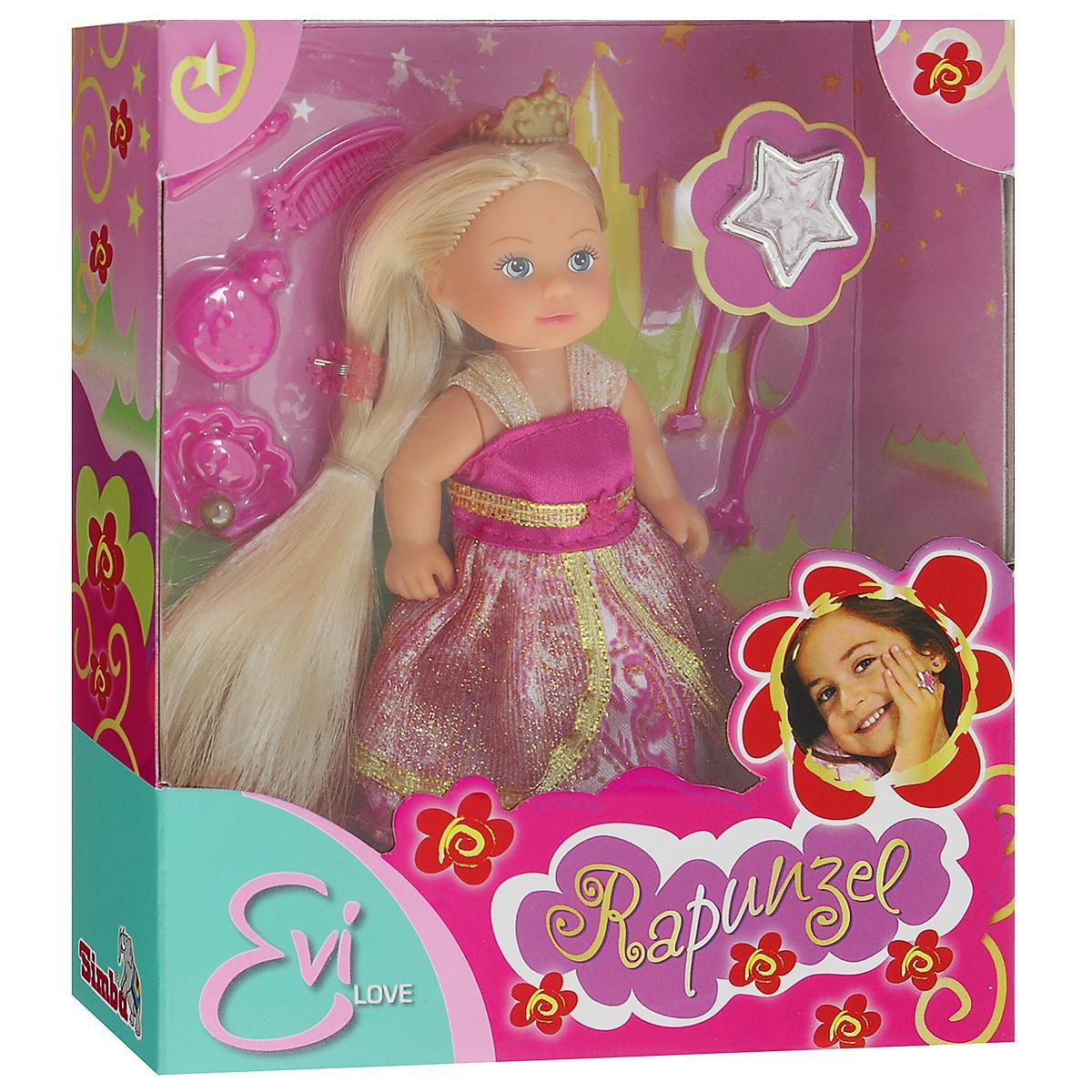 Simba Мини-кукла Еви Rapunzel5737057Кукла Simba Еви Rapunzel порадует любую девочку и надолго увлечет ее. В комплект входит кукла Еви, стильные аксессуары, а также модное кольцо для девочки. Малышка Еви одета роскошное платье принцессы, украшенное блестками. На голове у нее - корона, а волосы украшены заколкой. Вашей дочурке непременно понравится заплетать длинные белокурые волосы куклы, придумывая разнообразные прически. В комплект также входят дополнительные аксессуары - расческа, флакон духов, мыльница с мылом, зеркальце, волшебная палочка и тюбик с кремом, которые сделают игру еще интереснее. Руки, ноги и голова куклы подвижны, благодаря чему ей можно придавать разнообразные позы. Игры с куклой способствуют эмоциональному развитию, помогают формировать воображение и художественный вкус, а также разовьют в вашей малышке чувство ответственности и заботы. Великолепное качество исполнения делают эту куколку чудесным подарком к любому празднику.