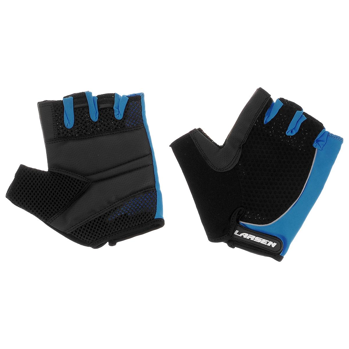 Велоперчатки Larsen, цвет: черный, синий. Размер L01-1232Велоперчатки Larsen выполнены из высококачественного нейлона и амары. Ладони оснащены накладкой из полиуретана для повышенного сцепления и системой Pull Off на пальцах. Застежка Velcro надежно фиксирует перчатки на руке. Сетка способствует хорошей вентиляции.