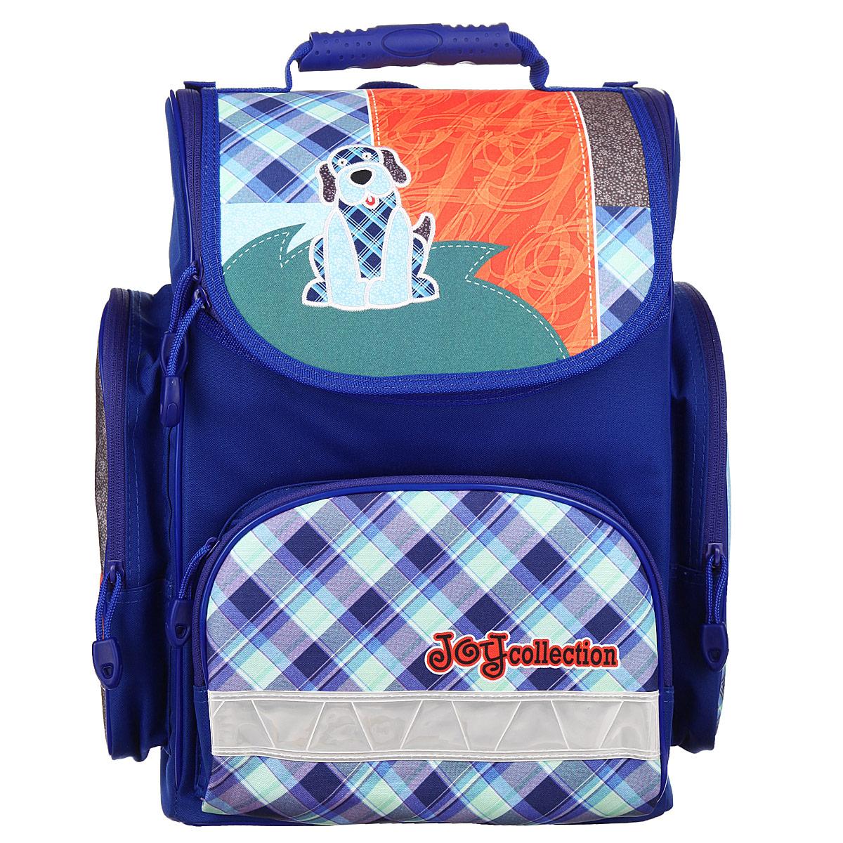Ранец школьный Tiger Enterprise Joy Collection, цвет: синий, голубой, оранжевый3901/TG_синийРанец школьный Tiger Family Joy Collection идеально подойдет для школьников. Ранец выполнен из прочного и водонепроницаемого материала синего, голубого и оранжевого цветов. Изделие оформлено изображением в виде забавной собачки. Содержит одно вместительное отделение, закрывающееся на застежку-молнию с двумя бегунками. Внутри отделения имеются две мягких перегородки для тетрадей или учебников. Крышка полностью откидывается, что существенно облегчает пользование ранцем. На внутренней части крышки находится прозрачный пластиковый кармашек, в который можно поместить данные о владельце ранца. Ранец имеет два боковых накладных кармана на молнии. Лицевая сторона ранца оснащена накладным карманом на застежке-молнии. Спинка ранца достаточно твердая. В нижней части спины расположен поясничный упор - небольшой валик, на который при правильном ношении ранца будет приходиться основная нагрузка. Ранец оснащен ручкой с пластиковой насадкой для удобной переноски в руке и петлей для...