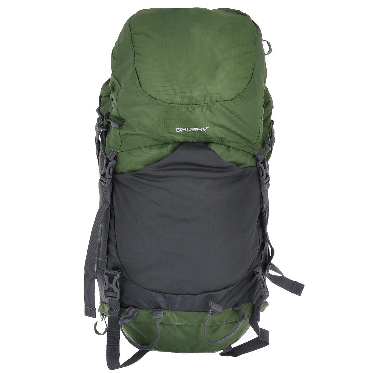 Рюкзак туристический Husky Menic, цвет: черный, серый, зеленый, 50 лУТ-000066091Рюкзак Husky Menic - незаменимый атрибут туриста! Он выполнен из водонепроницаемого нейлона и оснащен светоотражательными элементами. С этим вместительным рюкзаком можно отправиться в любое путешествие. Его удобно носить за плечами благодаря широким лямкам, грудному ремню, ремню на поясе и жесткой спинке с дюралюминиевыми вставками и системой вентиляции спины ETS. Основное отделение имеет объем 50 л. Доступ к нему открывается сверху (закрывается затягивающимся шнурком, пластиковым карабином и капюшоном), снизу (замок на застежке- молнии и карабин) и сбоку (застежка-молния). Внутри главного отделения находится глубокий карман на застежке-молнии для гидратора. Сверху у рюкзака находится 1 карман на застежке-молнии (на капюшоне) с 2 сетчатыми карманами внутри. Капюшон соединяется с нижней частью рюкзака при помощи 2 пластиковых карабинов. На лицевой стороне расположен эластичный карман на резинке. По бокам рюкзака расположены 2 кармана на...