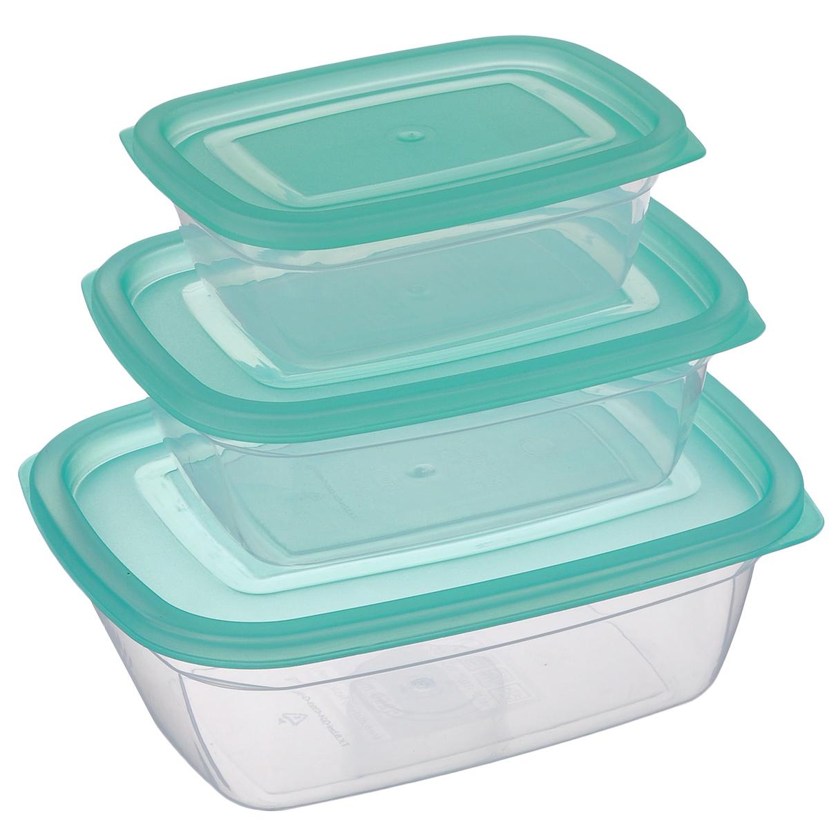 Набор контейнеров Dunya Plastik, цвет: зеленый, прозрачный, 3 шт30090_зеленый, прозрачныйНабор Dunya Plastik состоит из трех прямоугольных контейнеров разного объема. Изделия выполнены из высококачественного пищевого прозрачного пластика без примеси бисфенола. Контейнеры оснащены плотно закрывающимися крышками. Подходят для хранения и транспортировки пищи. Складываются друг в друга, что экономит пространство при хранении в шкафу. Подходят для использования в микроволновой печи без крышки (до +100°С), для заморозки при минимальной температуре -40°С. Можно мыть в посудомоечной машине. Объем контейнеров: 0,4 л; 0,75 л; 1,25 л. Размер контейнеров: 14 см х 10 см х 5 см; 17 см х 12 см х 6 см; 20 см х 15 см х 7 см.