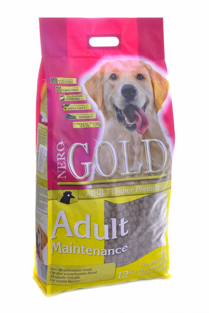 NERO GOLD super premium Для Взрослых собак: Контроль веса (Adult Maintenance 21/10), 12 кг.10069Состав: дегидрированное мясо курицы, маис, рис, куриный жир, дрожжи, мякоть свеклы, кэроб, минеральные вещества и витамины. Условия хранения: в прохладном темном месте.