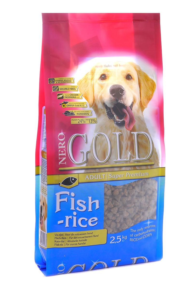 NERO GOLD super premium Для Взрослых собак: Рыбный коктейль, рис и овощи (Fish&Rice 24/13), 2,5 кг.10070Состав: дегидрированная рыба (мин. 20%), рис (мин. 18%), маис, овощи, куриный жир, мякоть свеклы, льняное семя, гидролизованная куриная печень, минералы и витамины, дрожжи, гидролизованные хрящи (источник хондроитина), гидролизат ракообразных (источник глюкозамина), L-карнитин, лецитин, инулин (ФОС), таурин. Условия хранения: в прохладном темном месте.