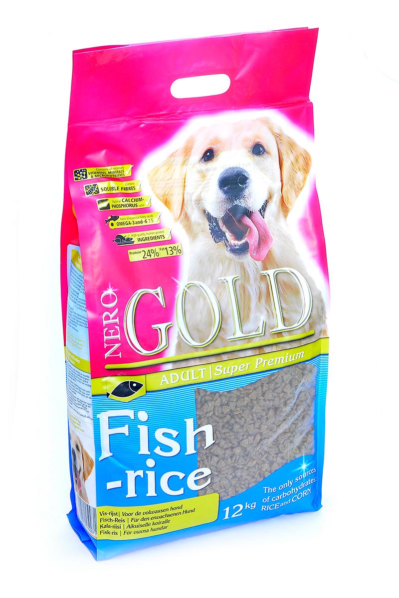 NERO GOLD super premium Для Взрослых собак: Рыбный коктейль, рис и овощи (Fish&Rice 24/13), 12 кг.10071Состав: дегидрированная рыба (мин. 20%), рис (мин. 18%), маис, овощи, куриный жир, мякоть свеклы, льняное семя, гидролизованная куриная печень, минералы и витамины, дрожжи, гидролизованные хрящи (источник хондроитина), гидролизат ракообразных (источник глюкозамина), L-карнитин, лецитин, инулин (ФОС), таурин. Условия хранения: в прохладном темном месте.